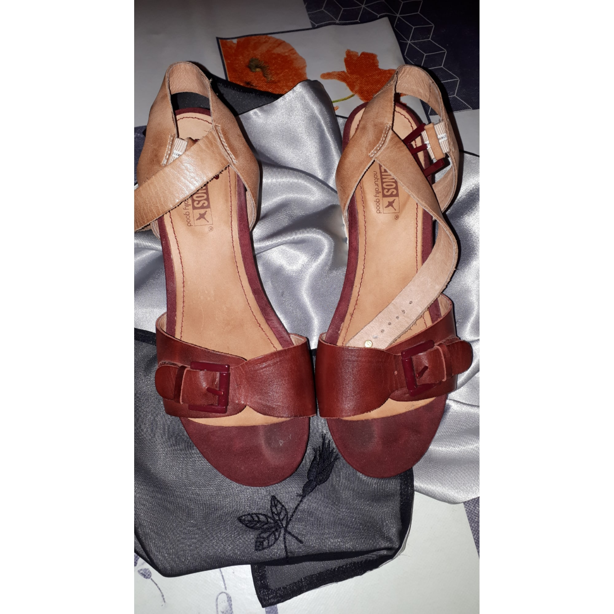 Sandales compensées PIKOLINOS Rouge, bordeaux