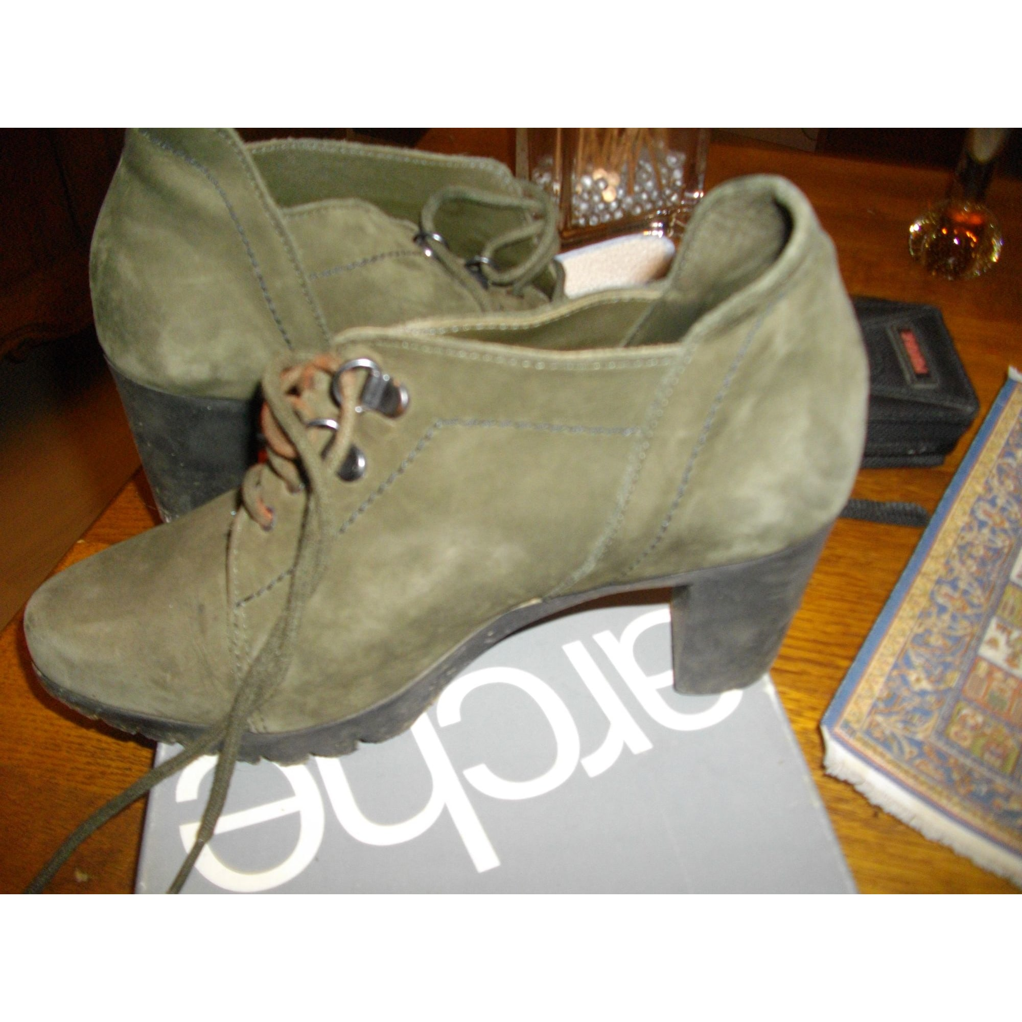 High Heel Ankle Boots MARQUE INCONNUE Green