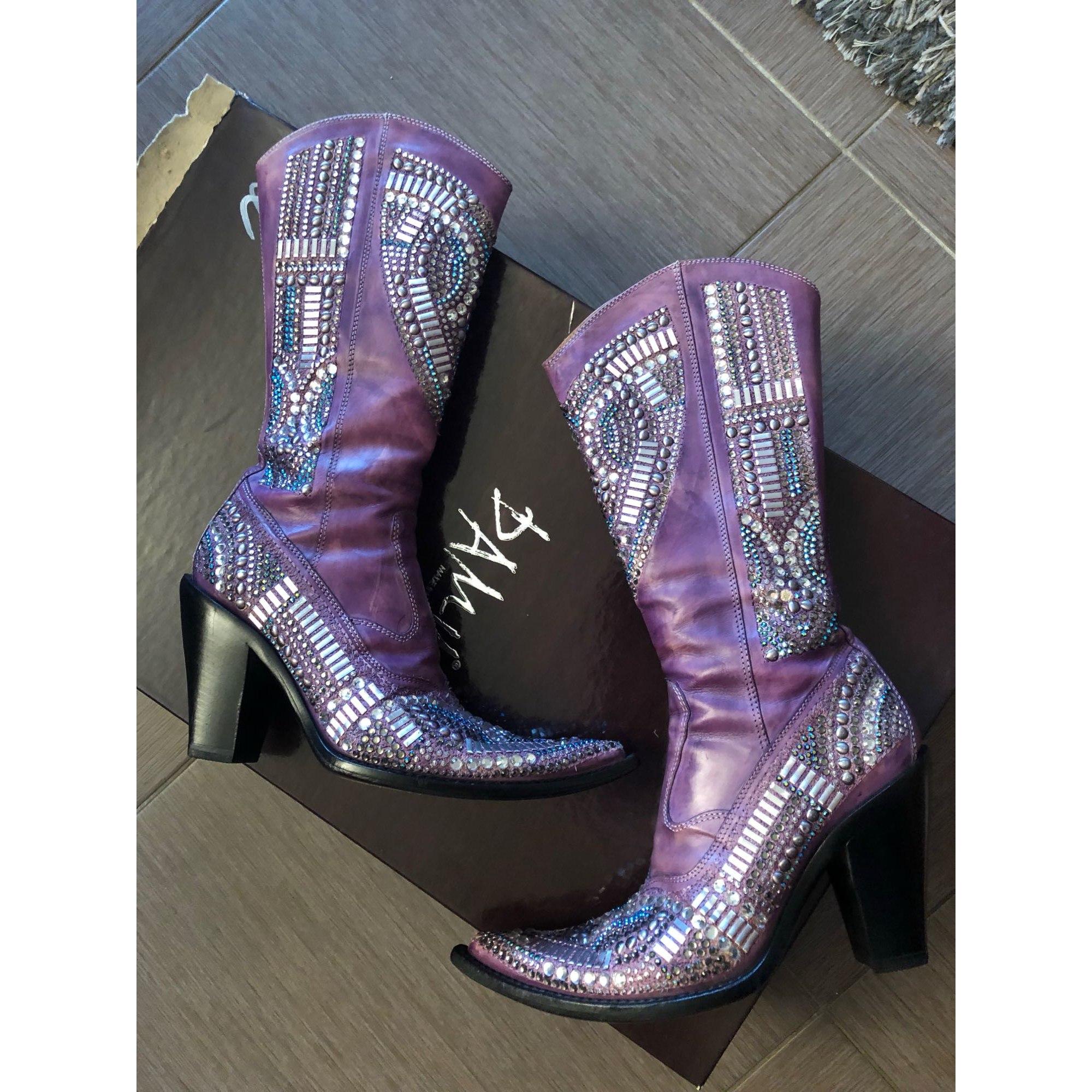 Santiags, bottes cowboy DAMY Violet, mauve, lavande