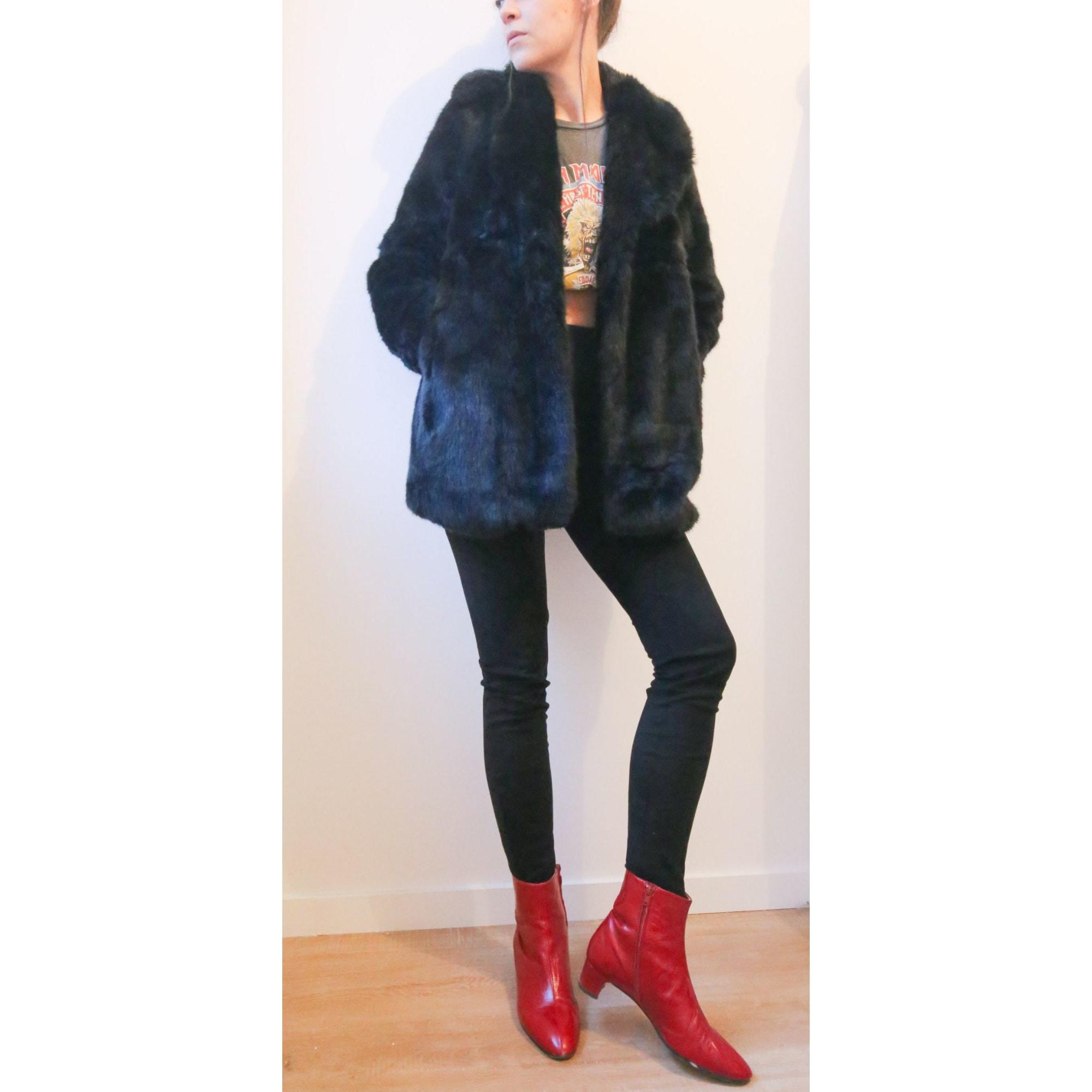 Manteau en fourrure ZARA Noir
