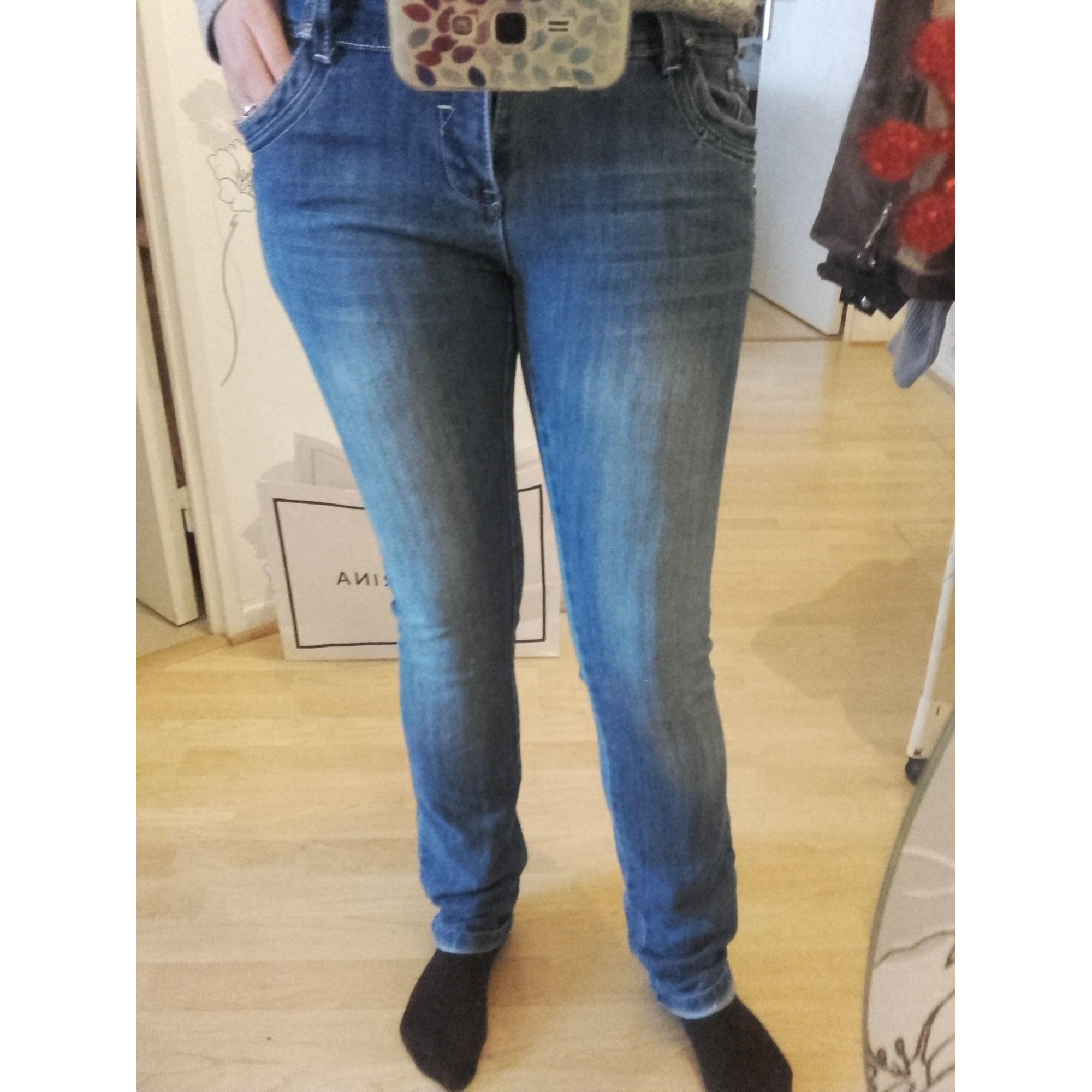 Pantalon slim, cigarette DENIM Bleu, bleu marine, bleu turquoise