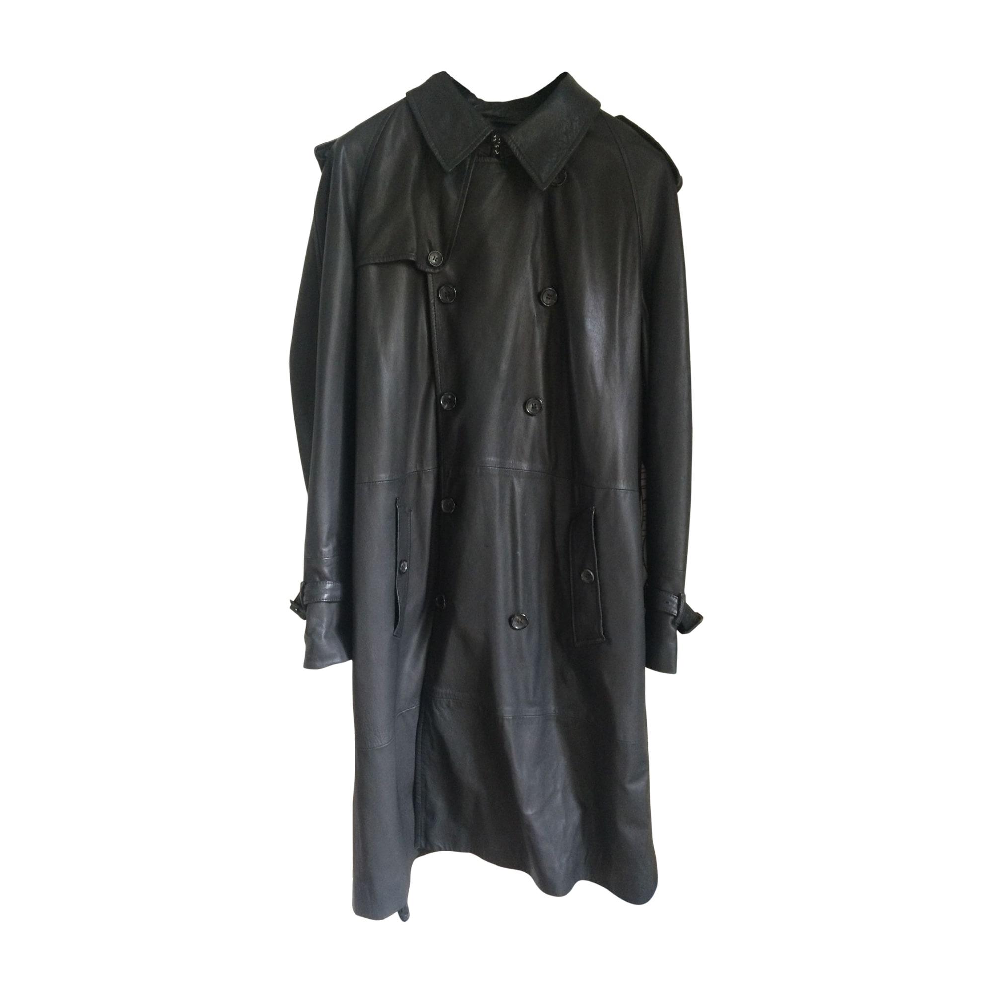 Manteau en cuir CERRUTI 1881 Noir