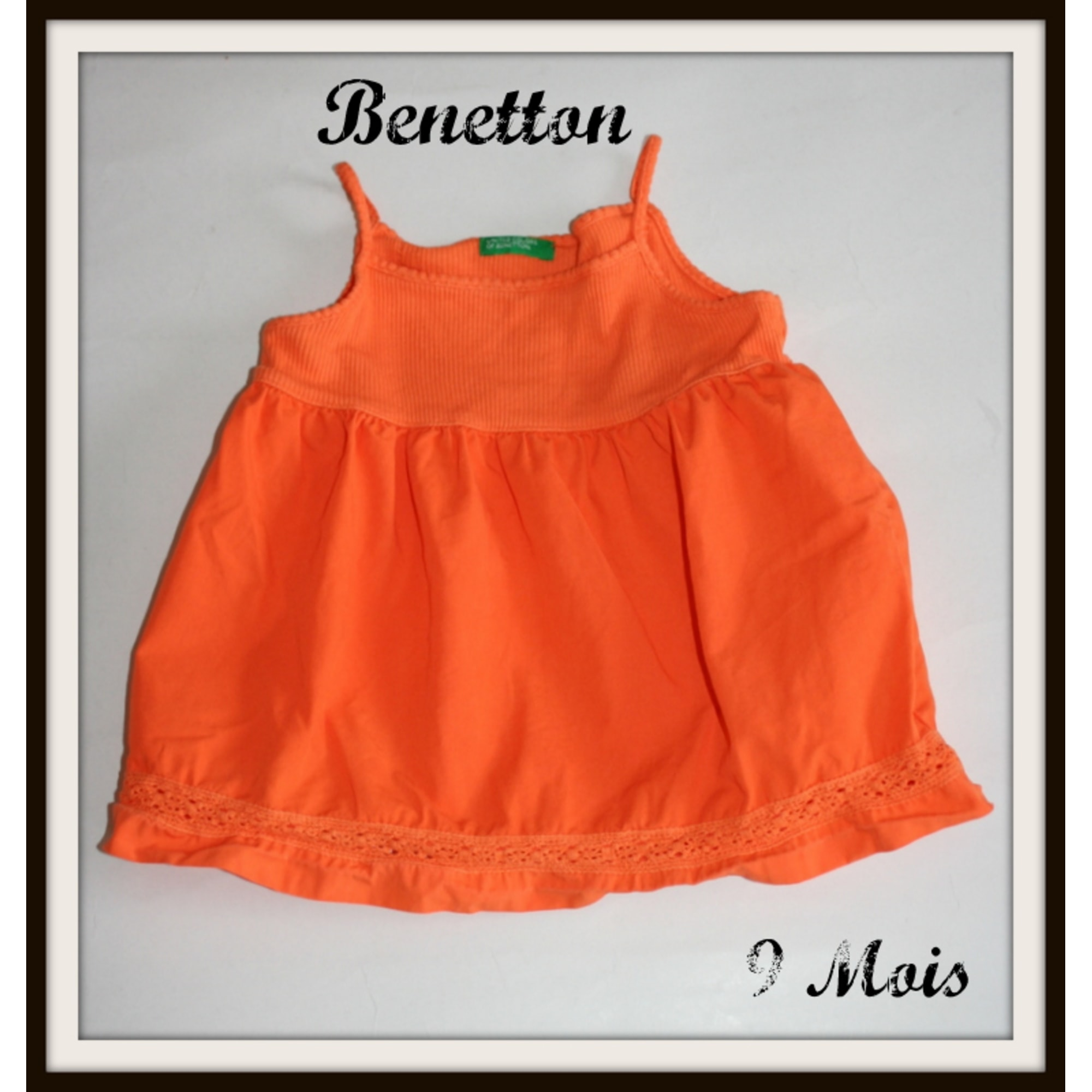 Top, tee shirt BENETTON Orange