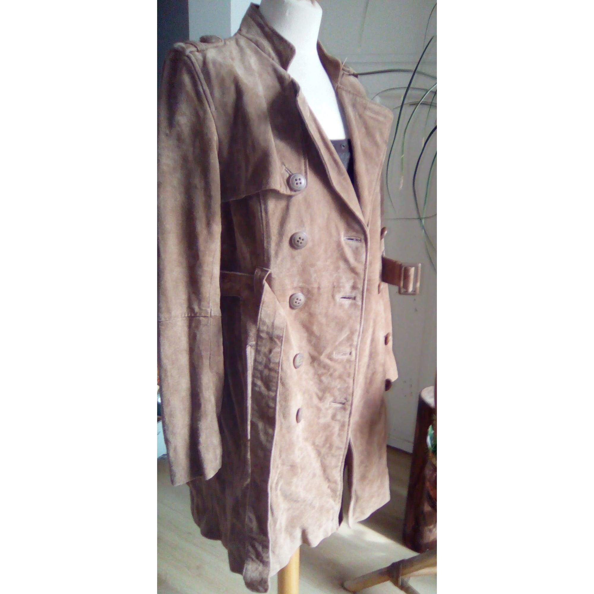 Manteau en cuir CAMAIEU Beige, camel