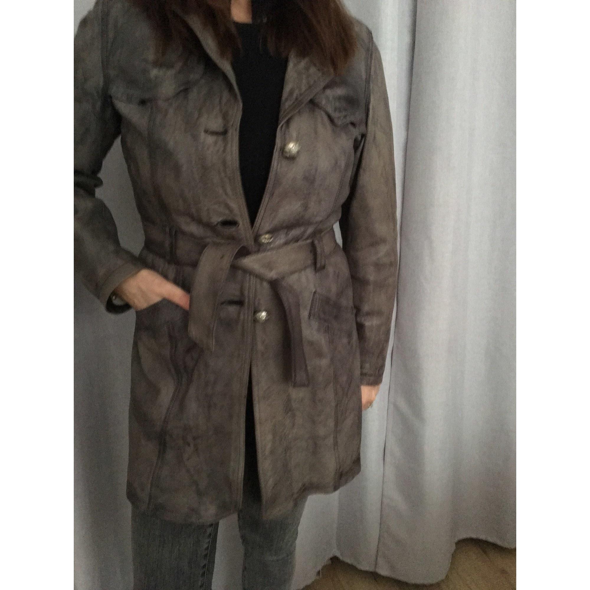 Manteau en cuir OAKWOOD Argenté, acier