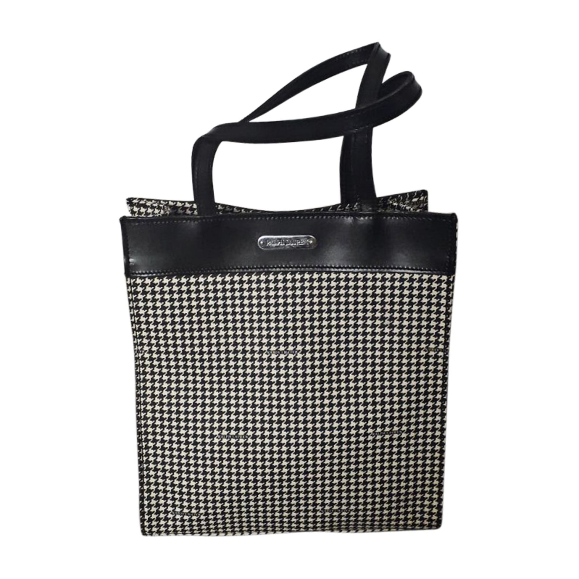 Lederhandtasche RALPH LAUREN noir et blanc