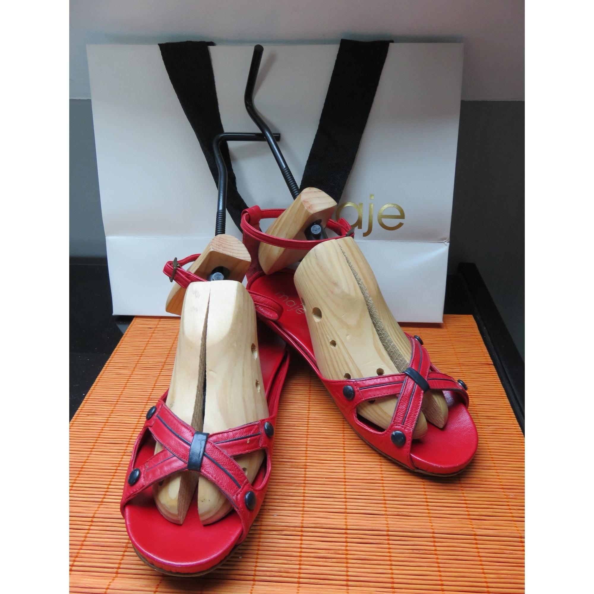 Sandales plates  MAJE Rouge, bordeaux