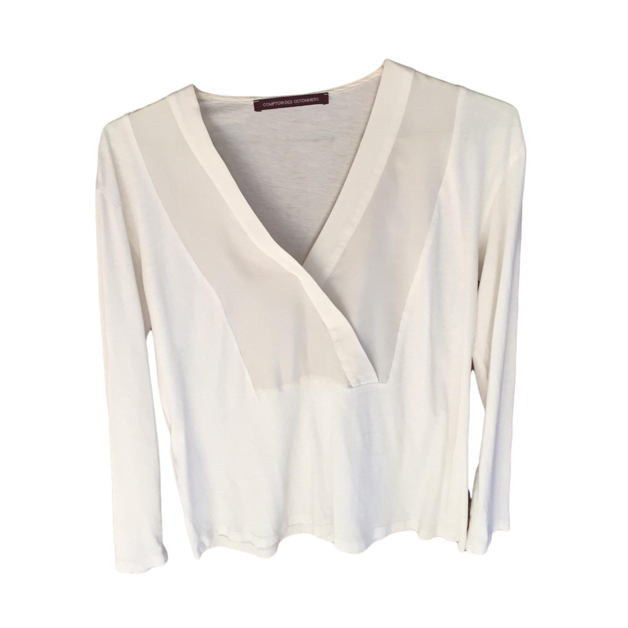 Top, tee-shirt COMPTOIR DES COTONNIERS Blanc, blanc cassé, écru