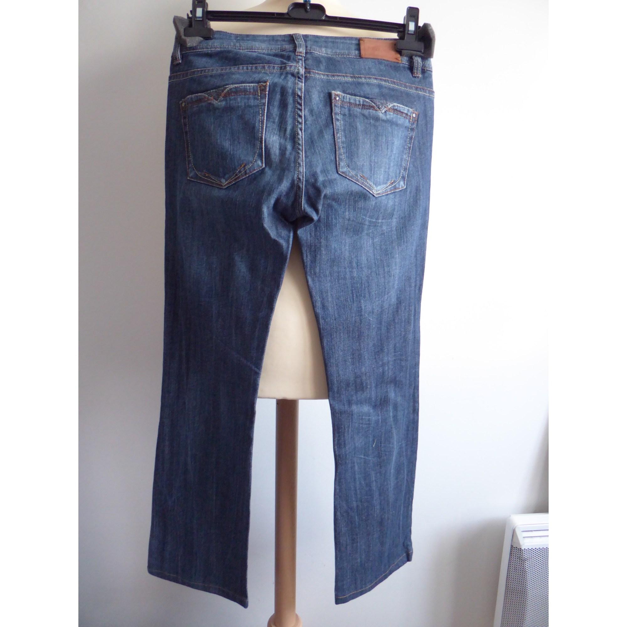 Jeans droit MKT Bleu, bleu marine, bleu turquoise