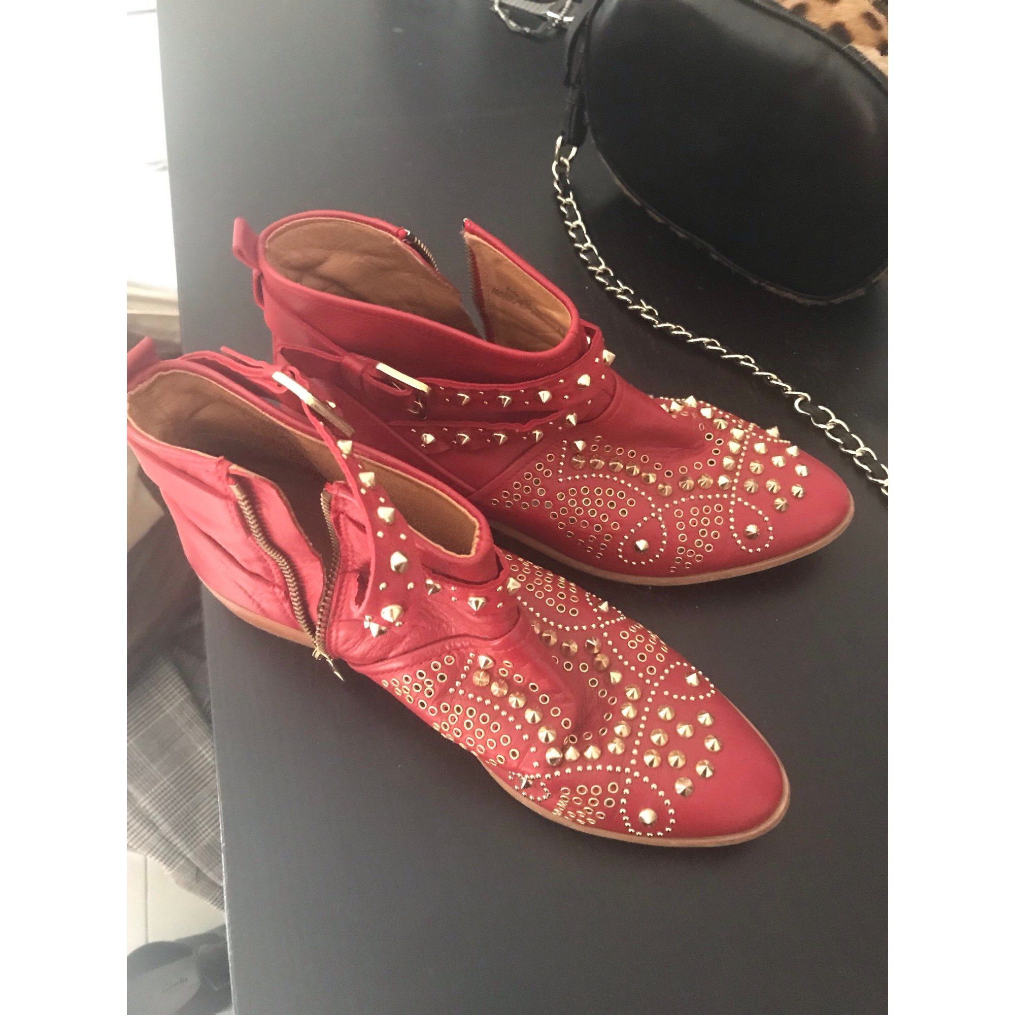 Cowboy Ankle Boots ZARA Red, burgundy