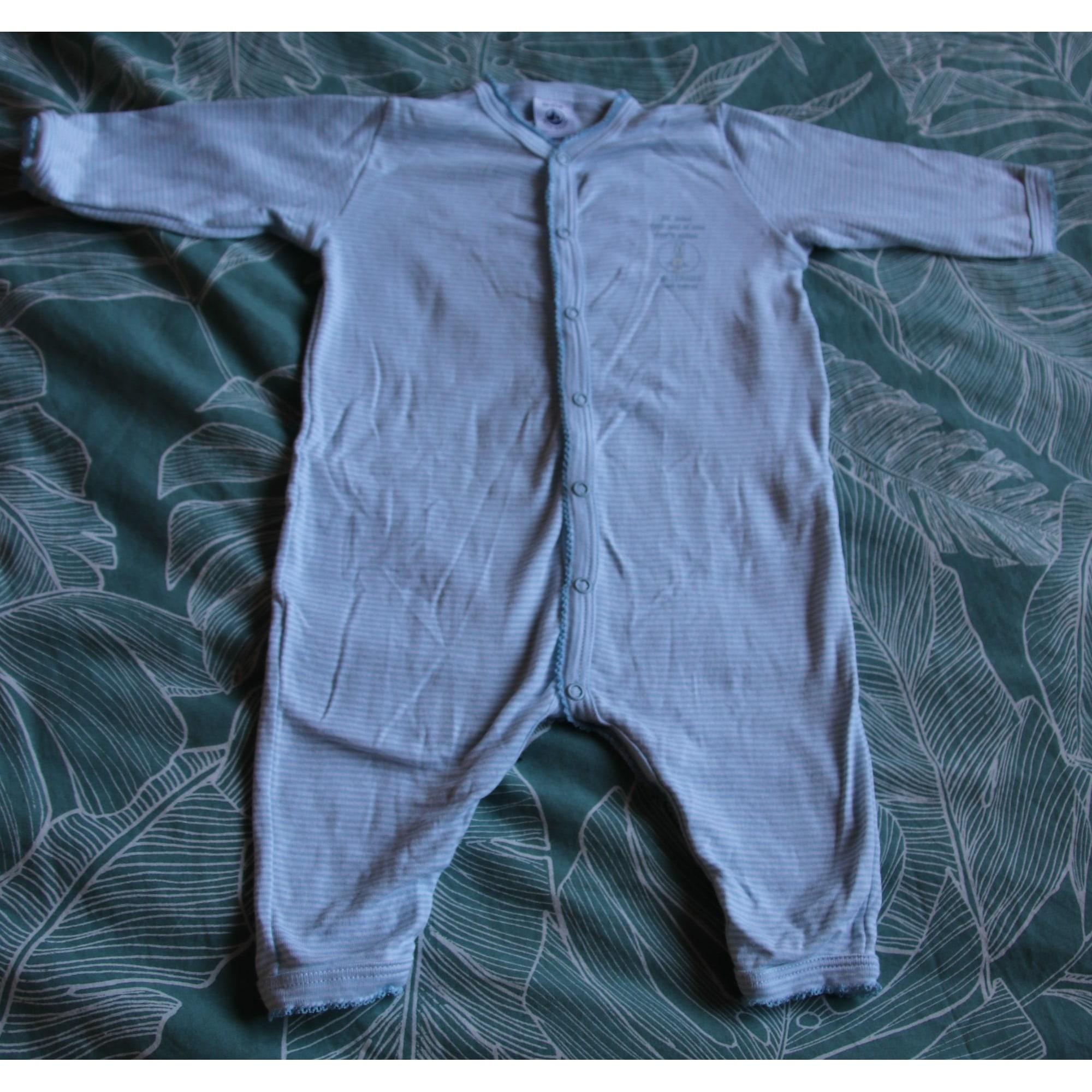 Grenouillère, babygros PETIT BATEAU Bleu ciel et blanc
