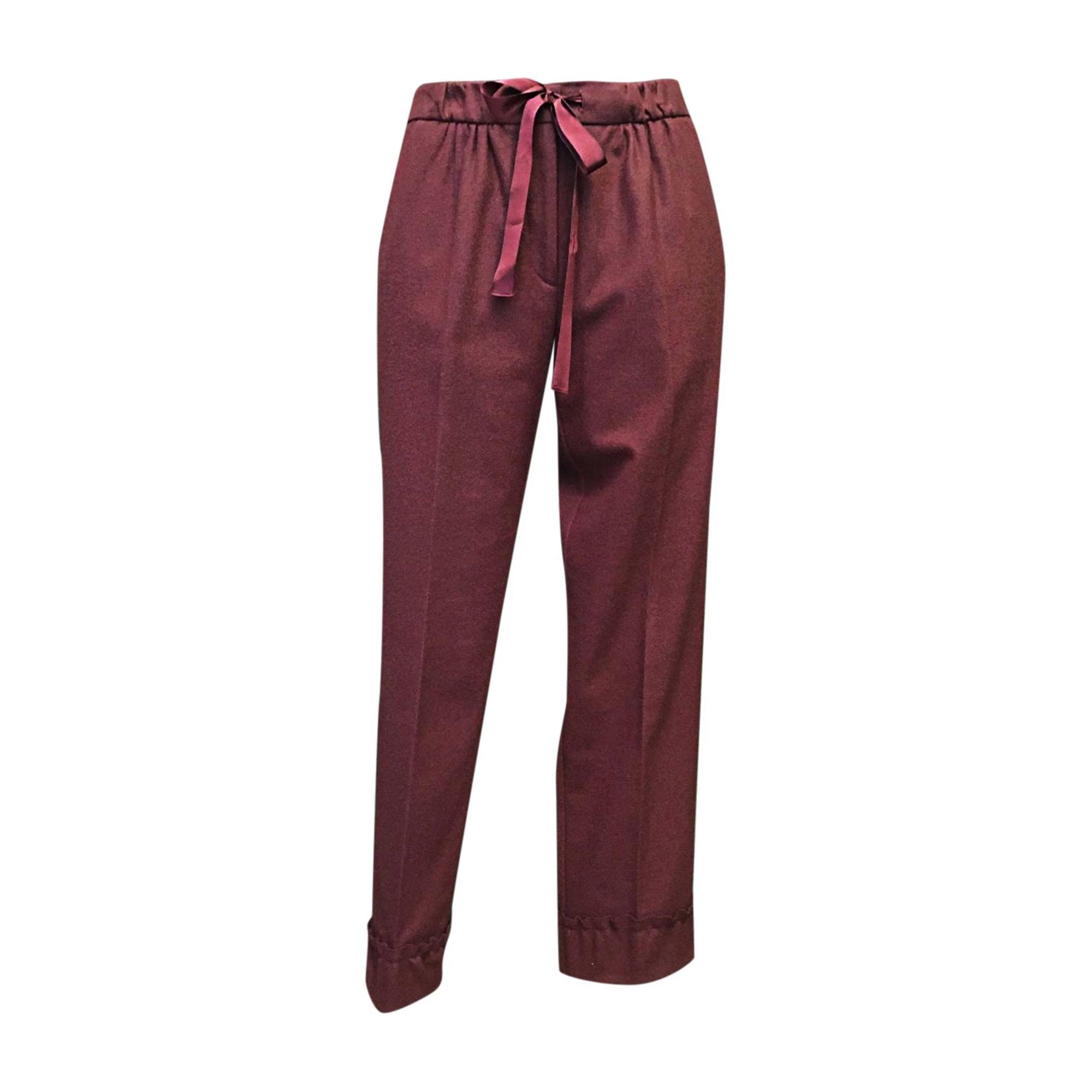 Pantalon droit NINA RICCI Rouge, bordeaux