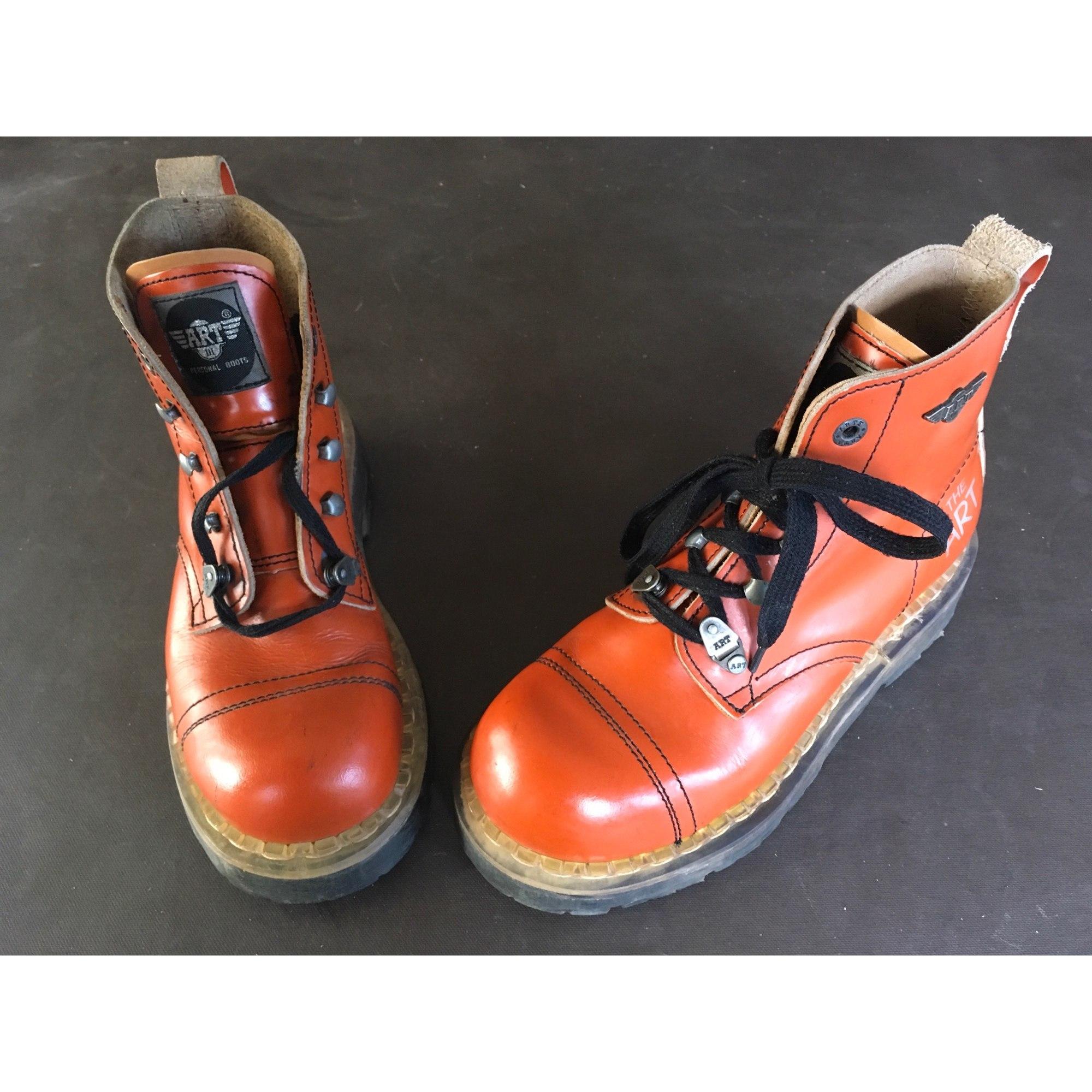 Bottines & low boots plates ART Marron orangé