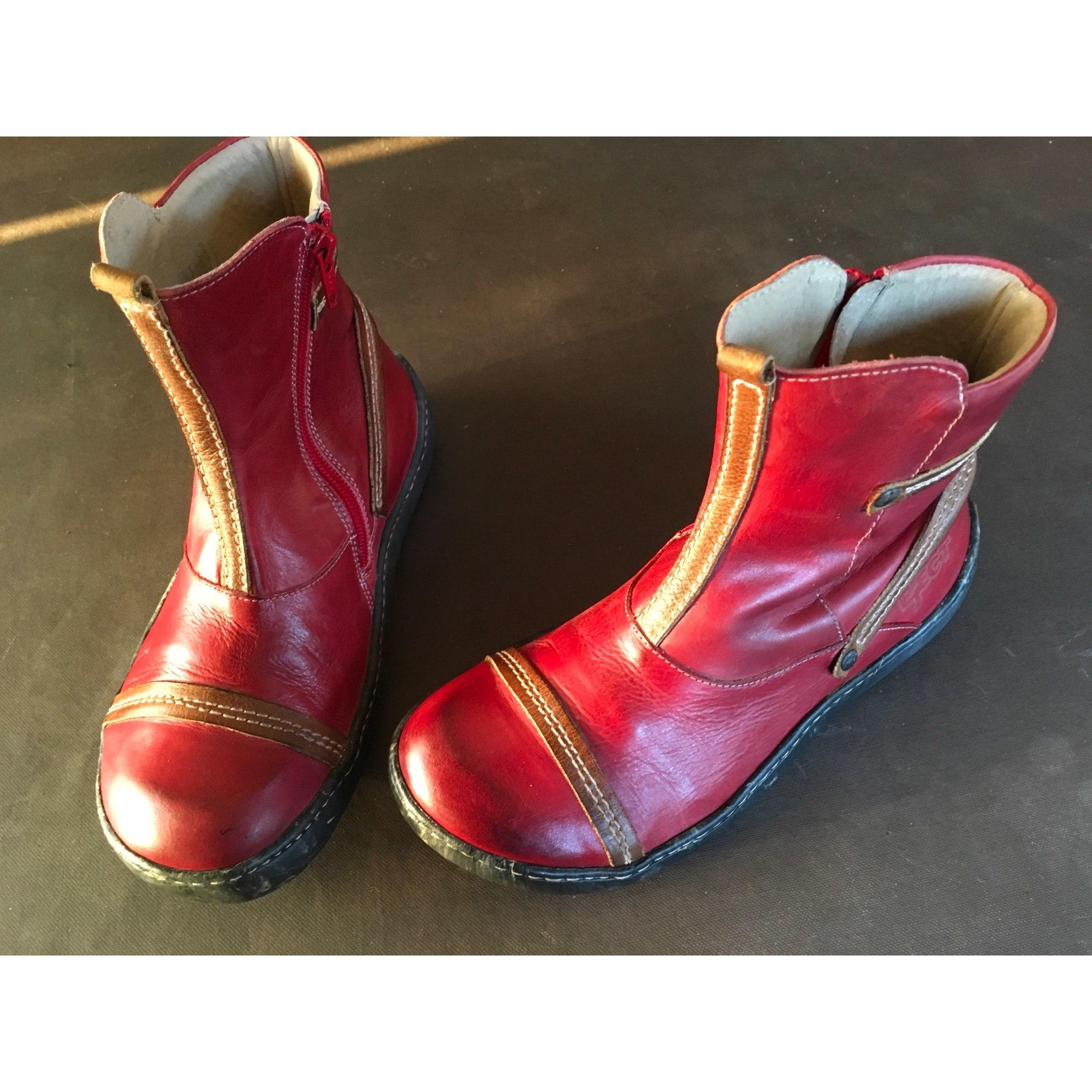 Bottines & low boots plates EJECT Rouge patiné bordeaux