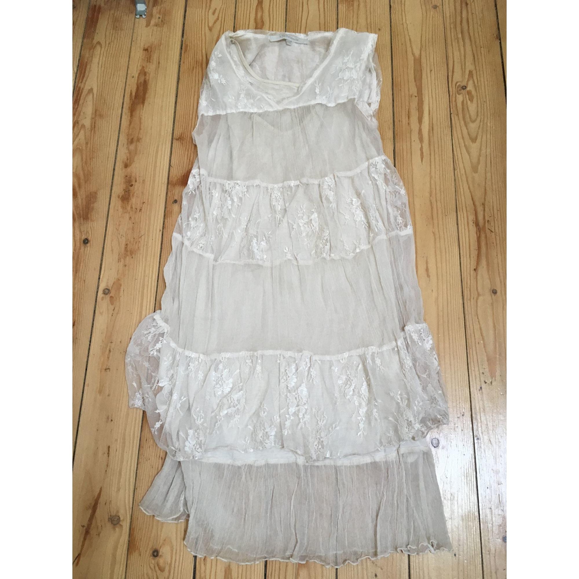 Robe mi-longue LA FÉE MARABOUTÉE Blanc, blanc cassé, écru
