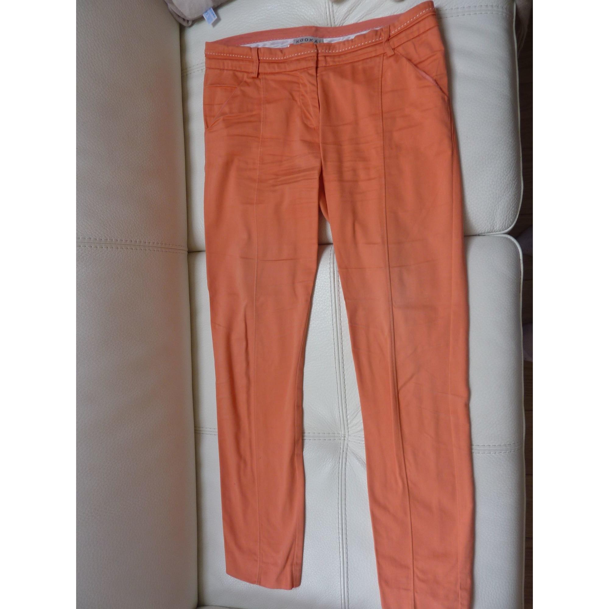 Pantalon slim, cigarette KOOKAI Orange