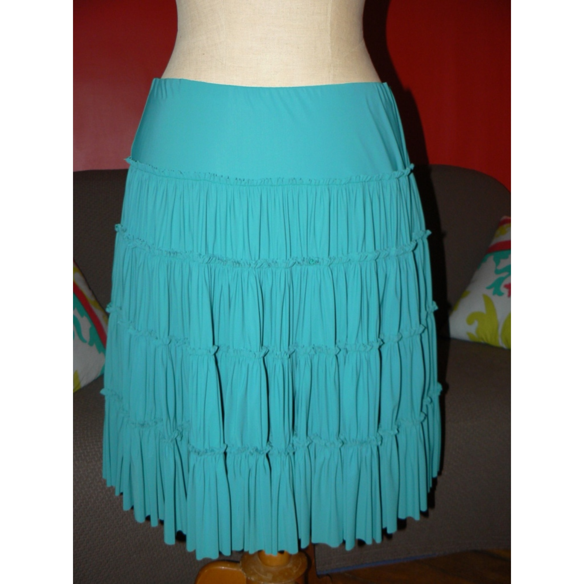 Jupe mi-longue INDIES Bleu, bleu marine, bleu turquoise