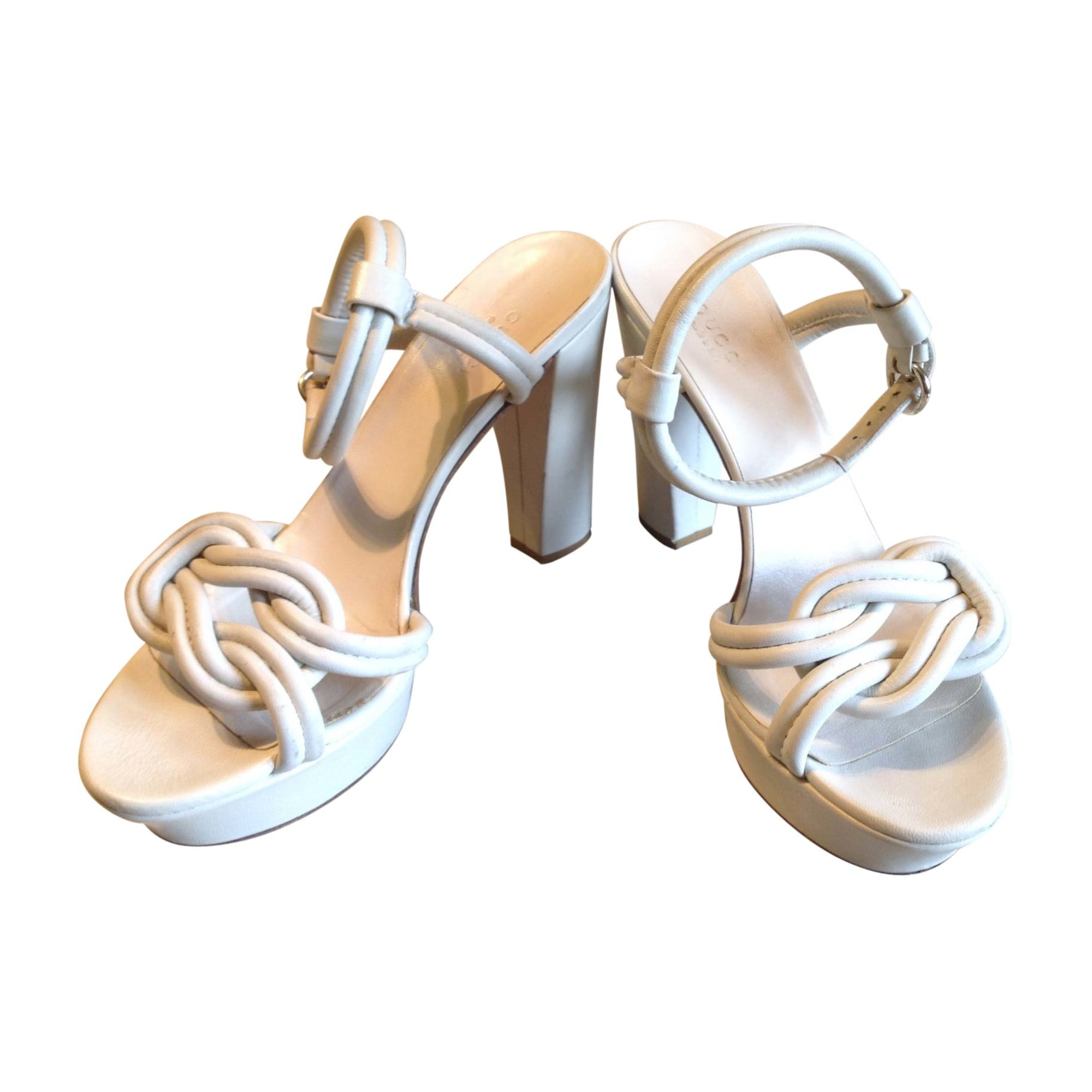 Sandales à talons GUCCI Blanc, blanc cassé, écru