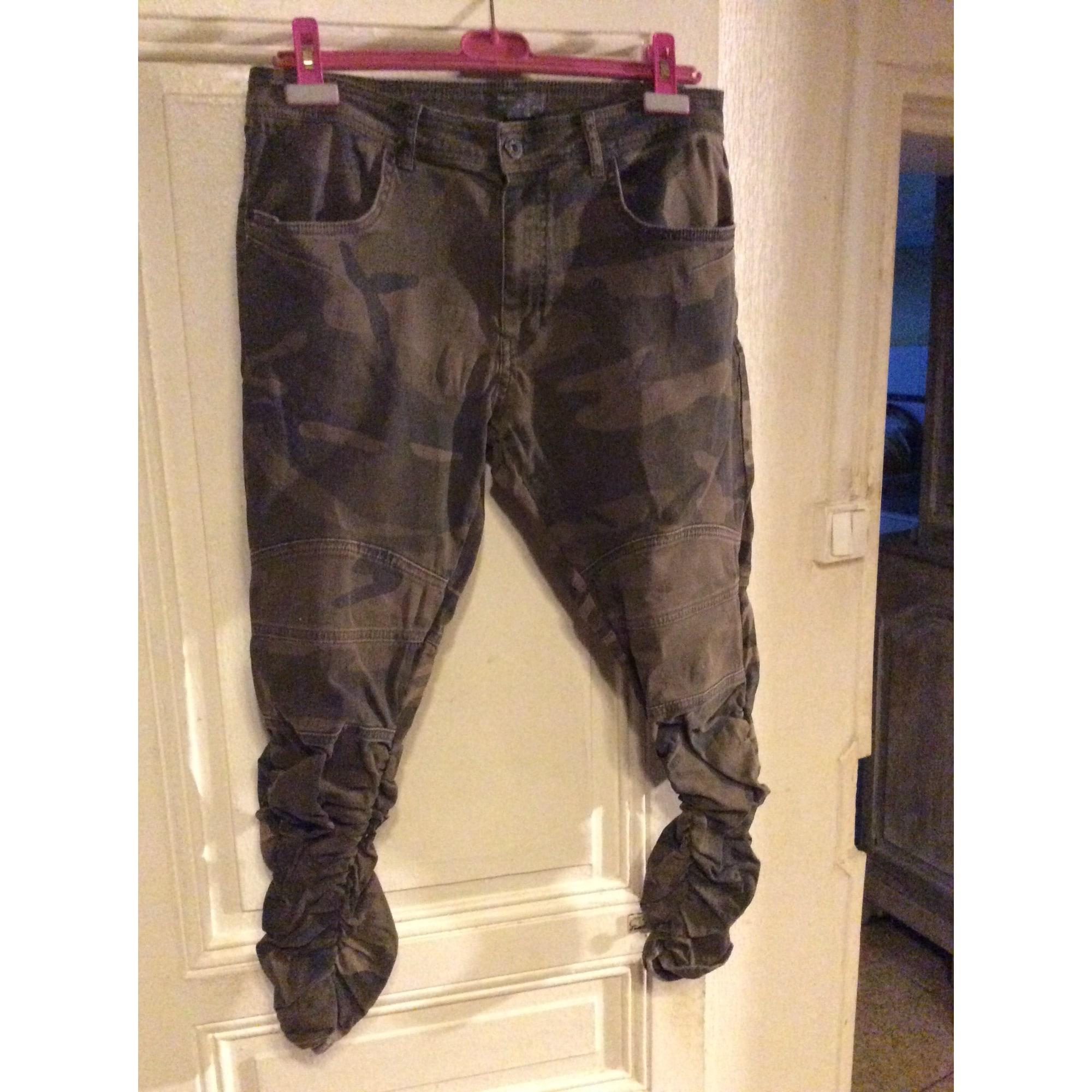Pantalon slim ZARA Kaki