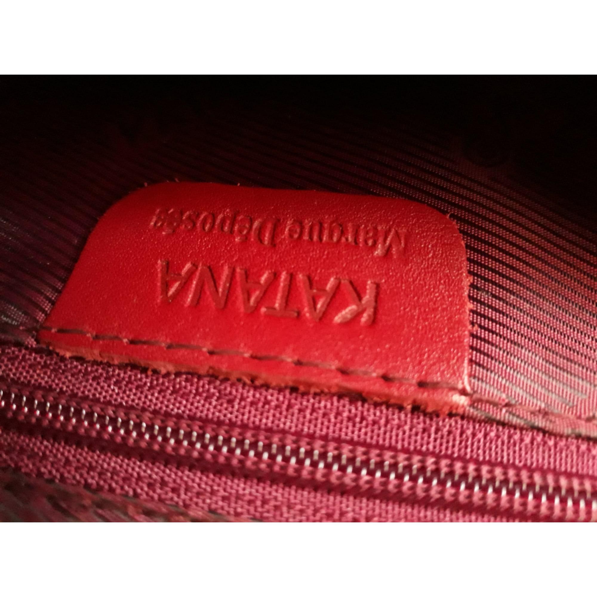 Sac pochette en cuir KATANA Rouge, bordeaux