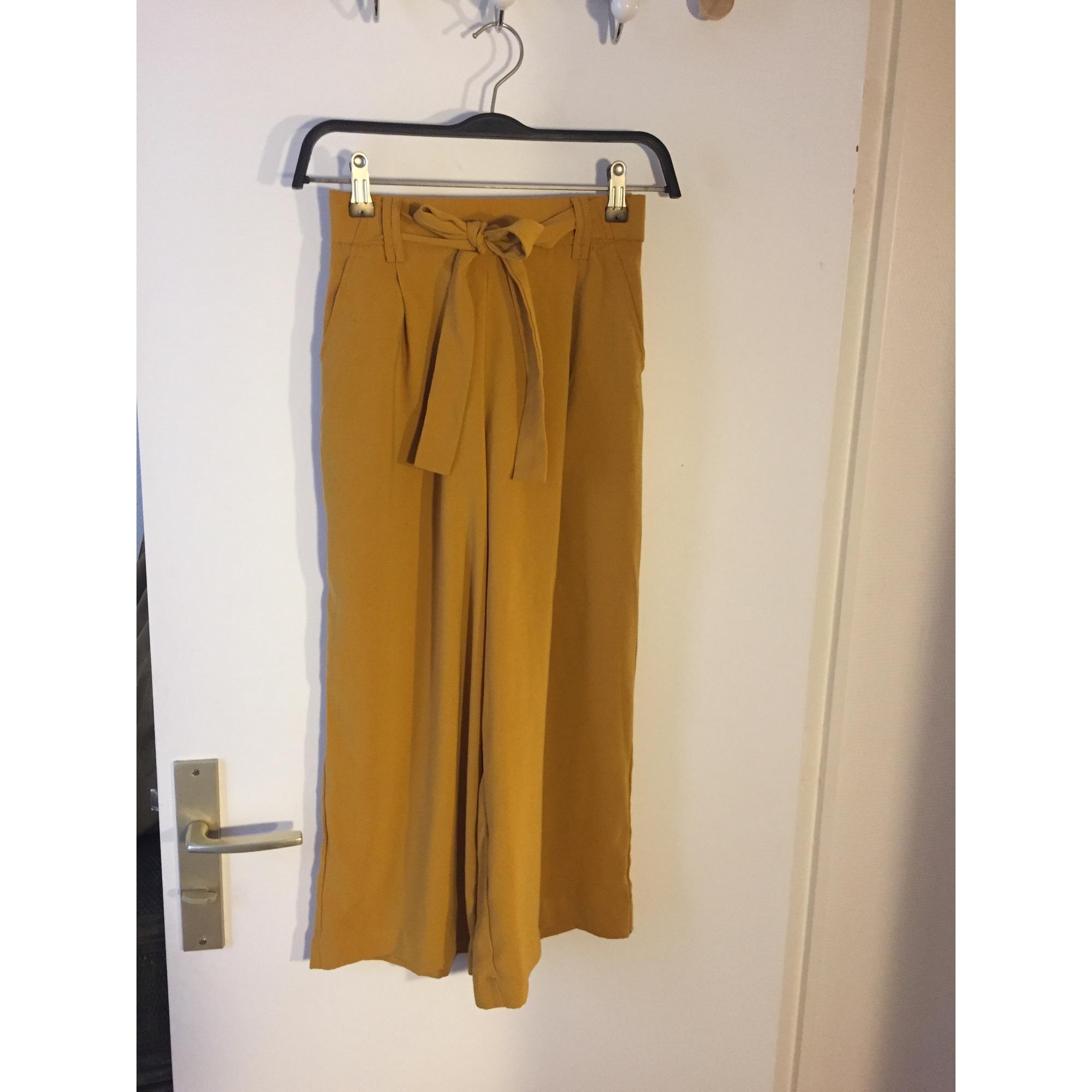 Pantalon large ZARA Moutarde