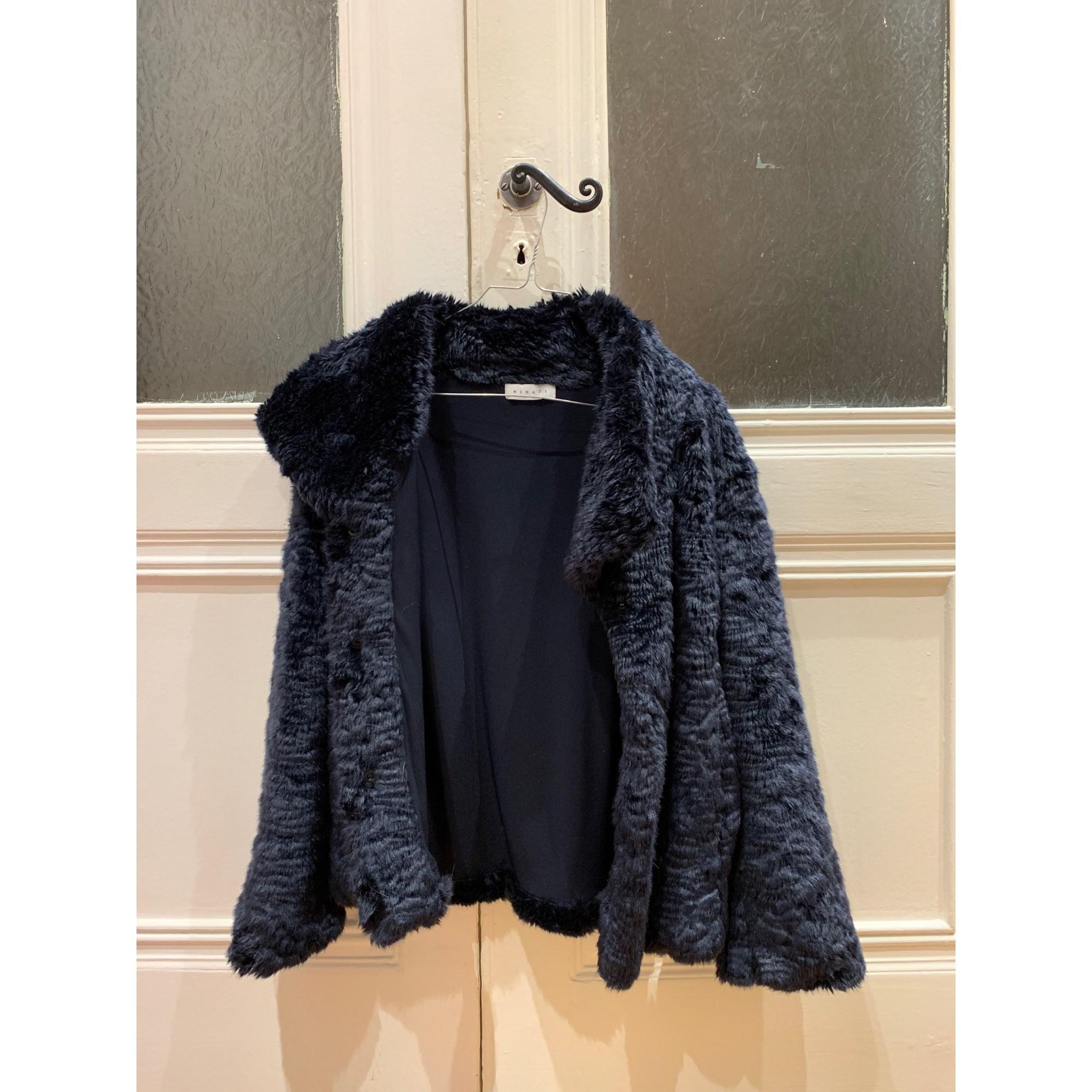 Blouson, veste en fourrure NINATI Bleu, bleu marine, bleu turquoise