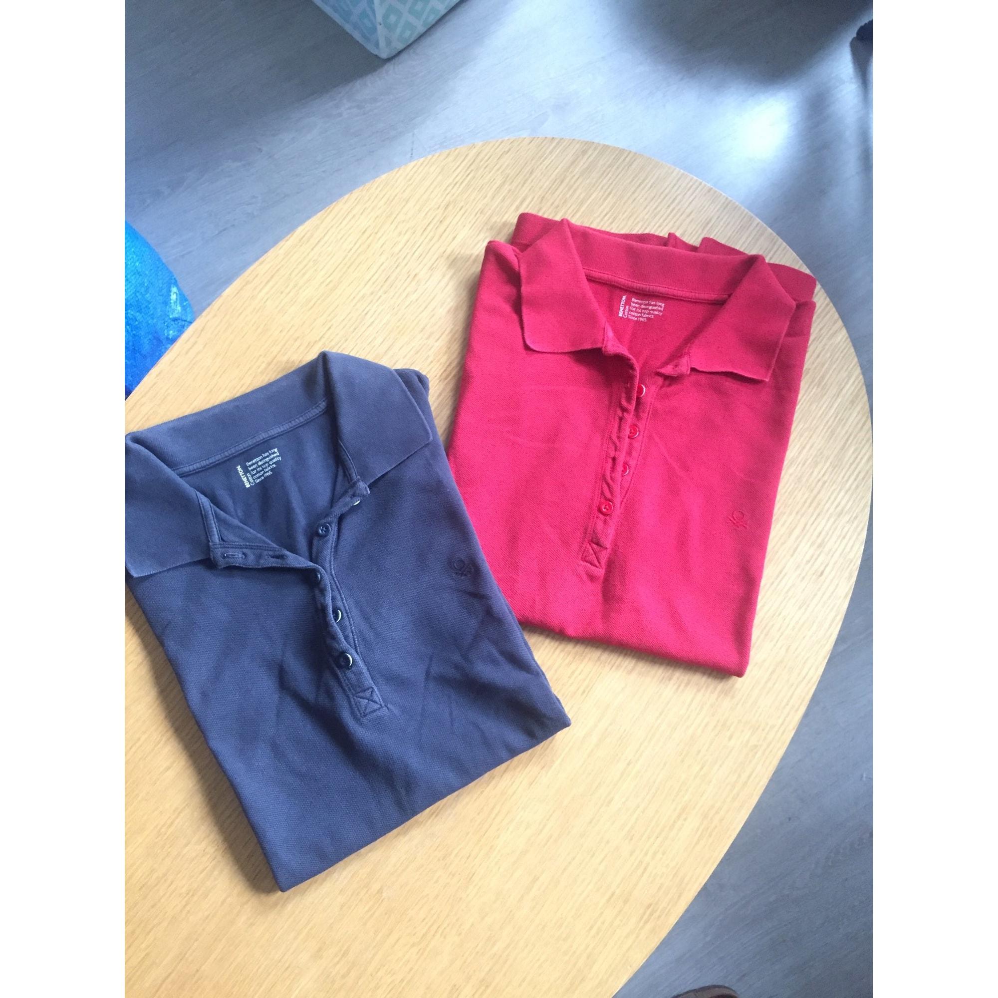 Polo BENETTON Bleu et rouge