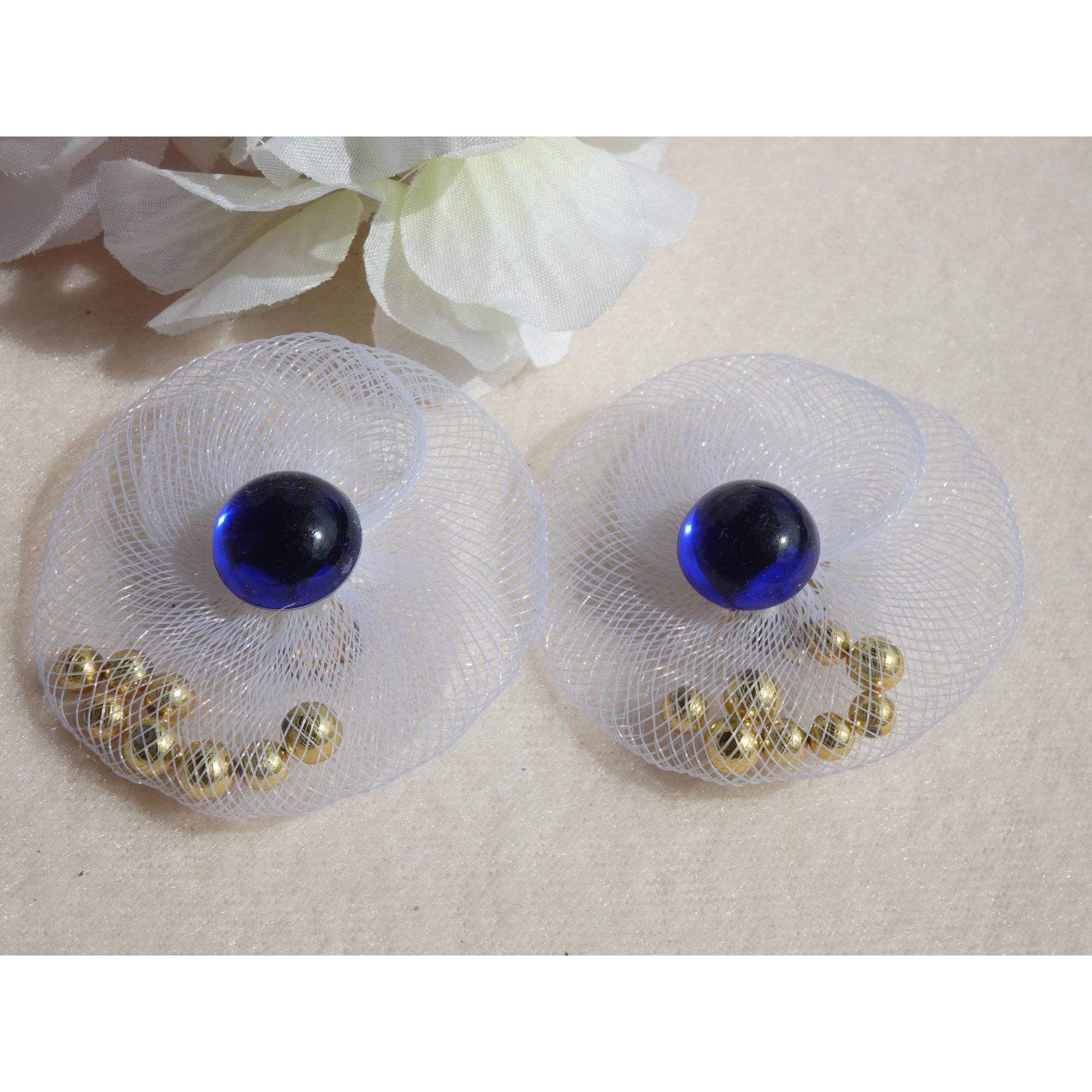 Boucles d'oreille FANTAISIE Bleu, bleu marine, bleu turquoise