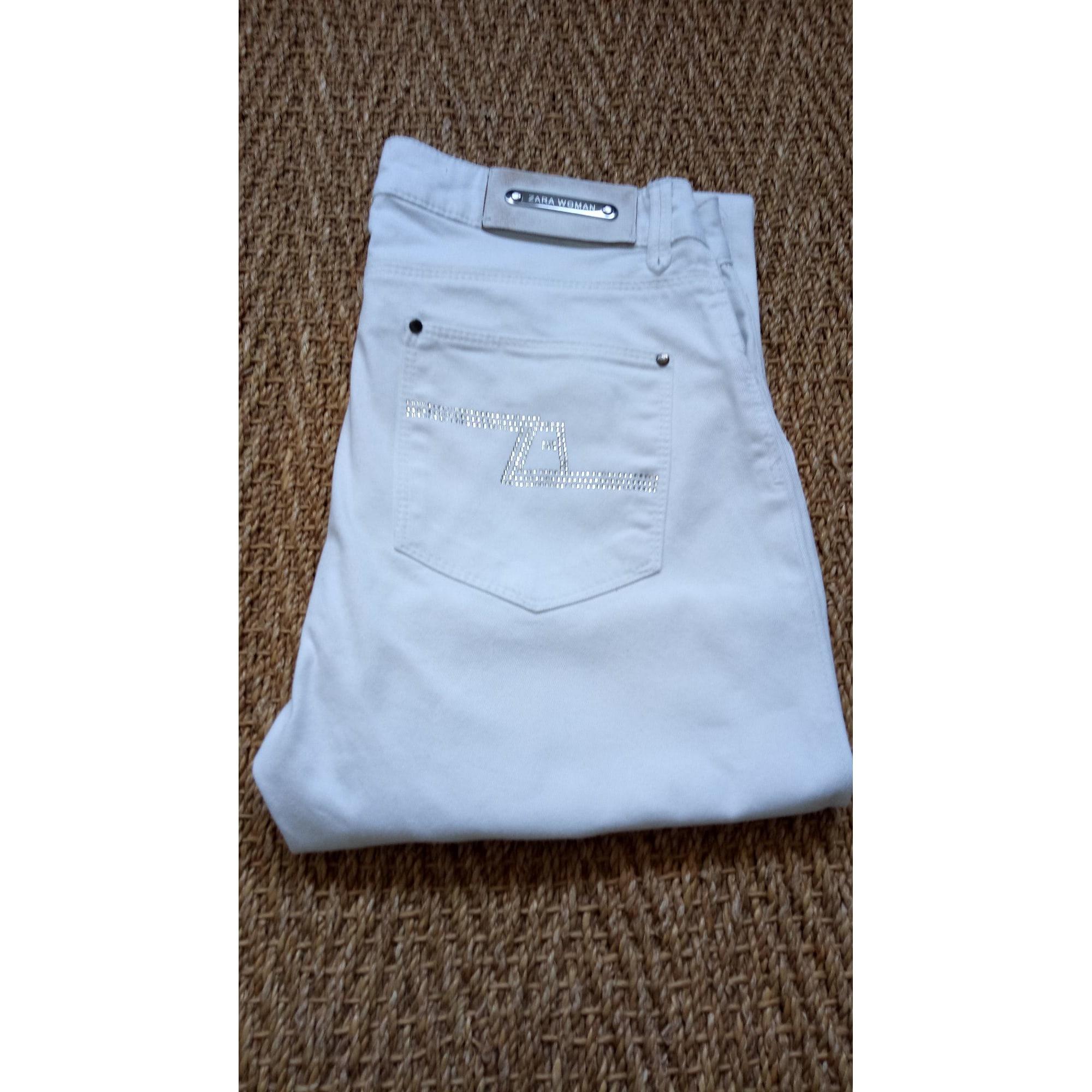 Jeans droit ZARA Blanc, blanc cassé, écru