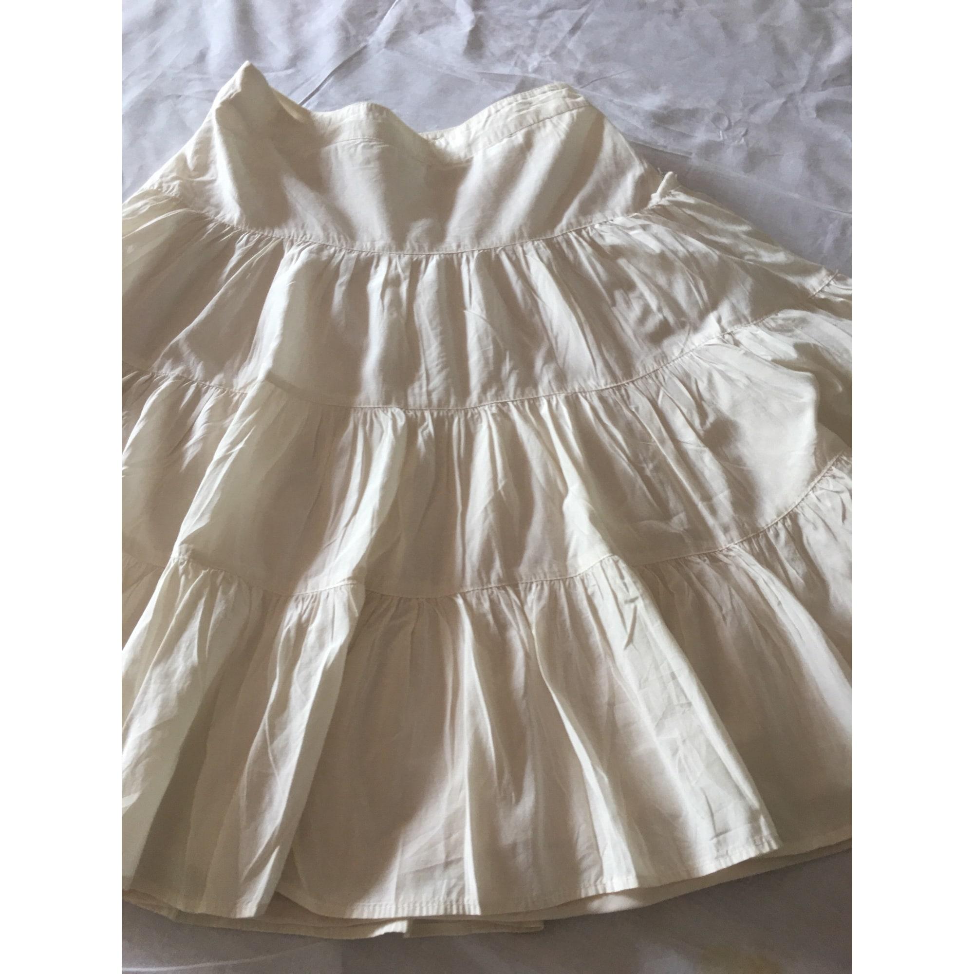 Jupe courte ZARA Blanc, blanc cassé, écru
