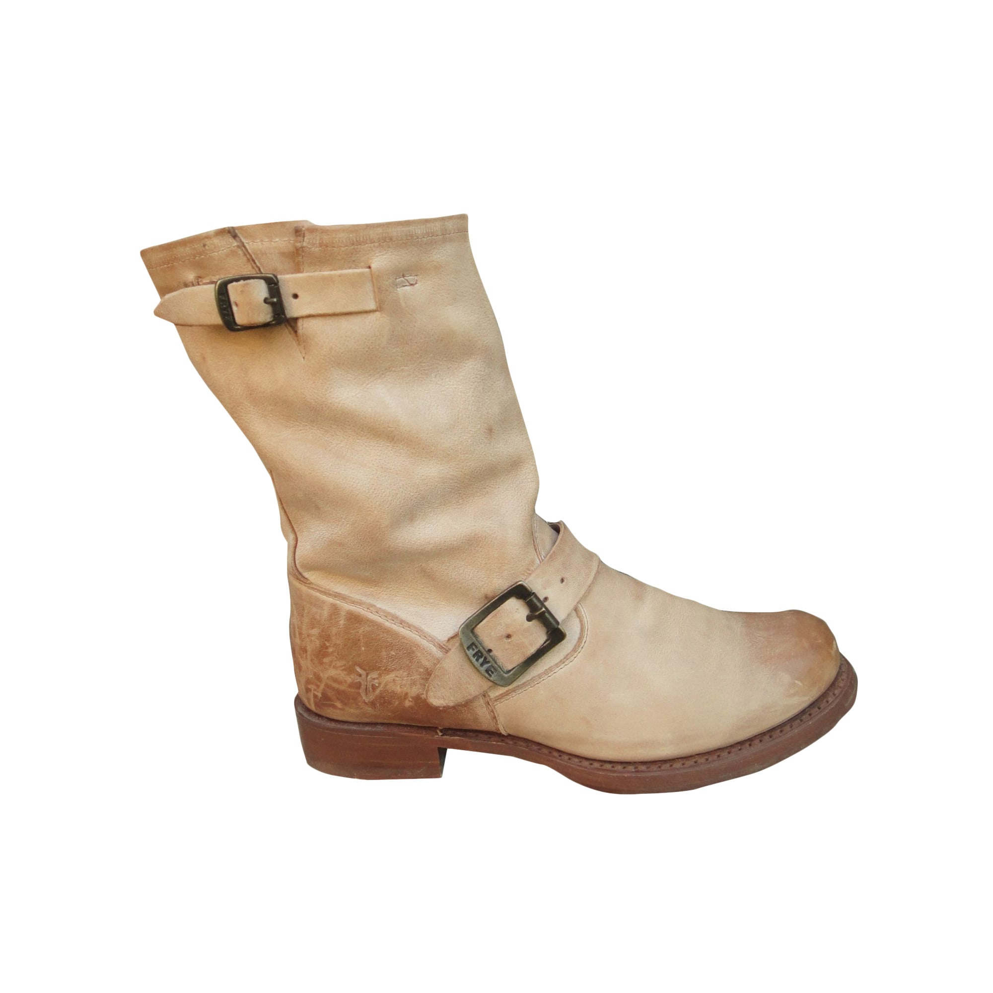 Bottines & low boots motards FRYE Beige, camel
