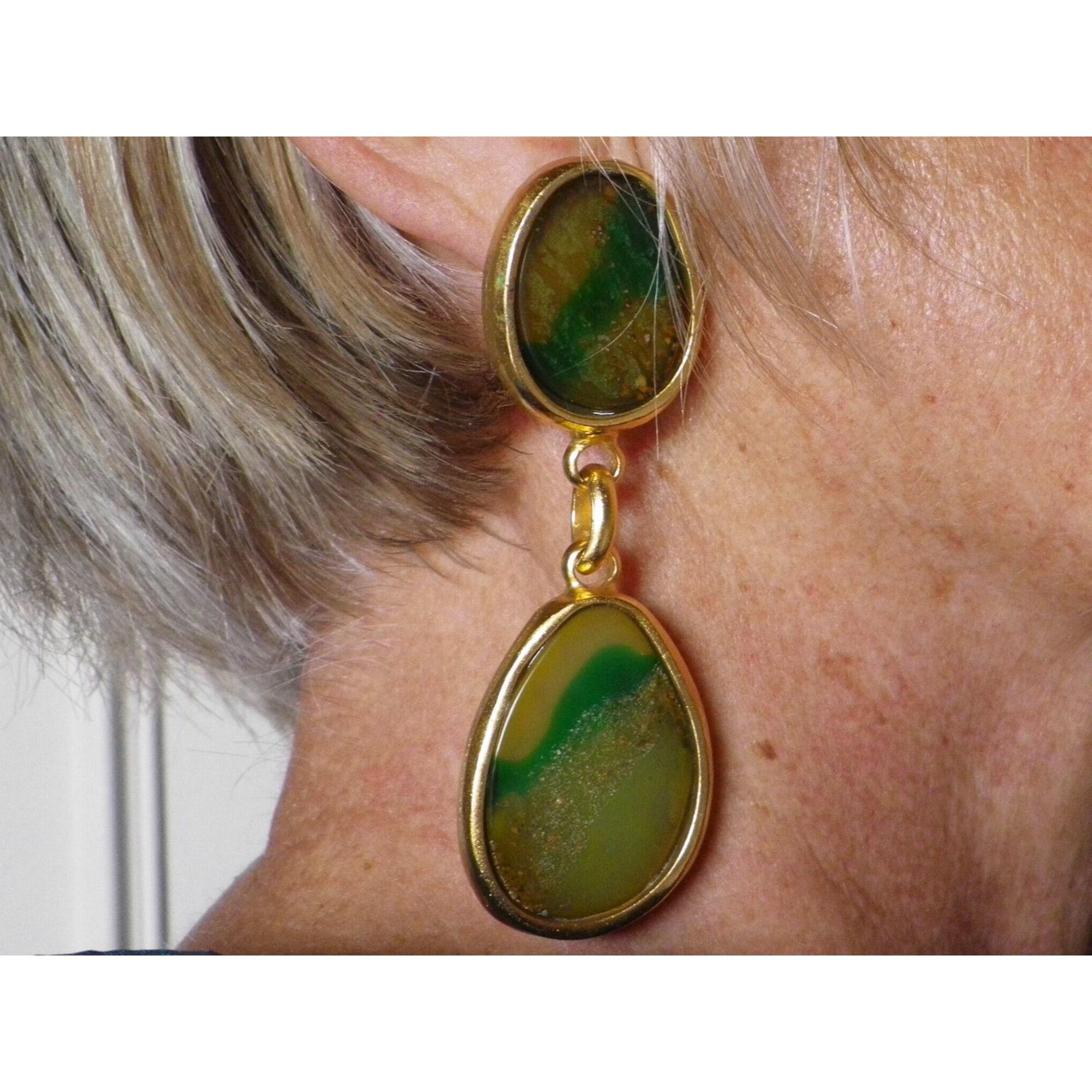 Boucles d'oreille DOMINIQUE DENAIVE Doré, bronze, cuivre