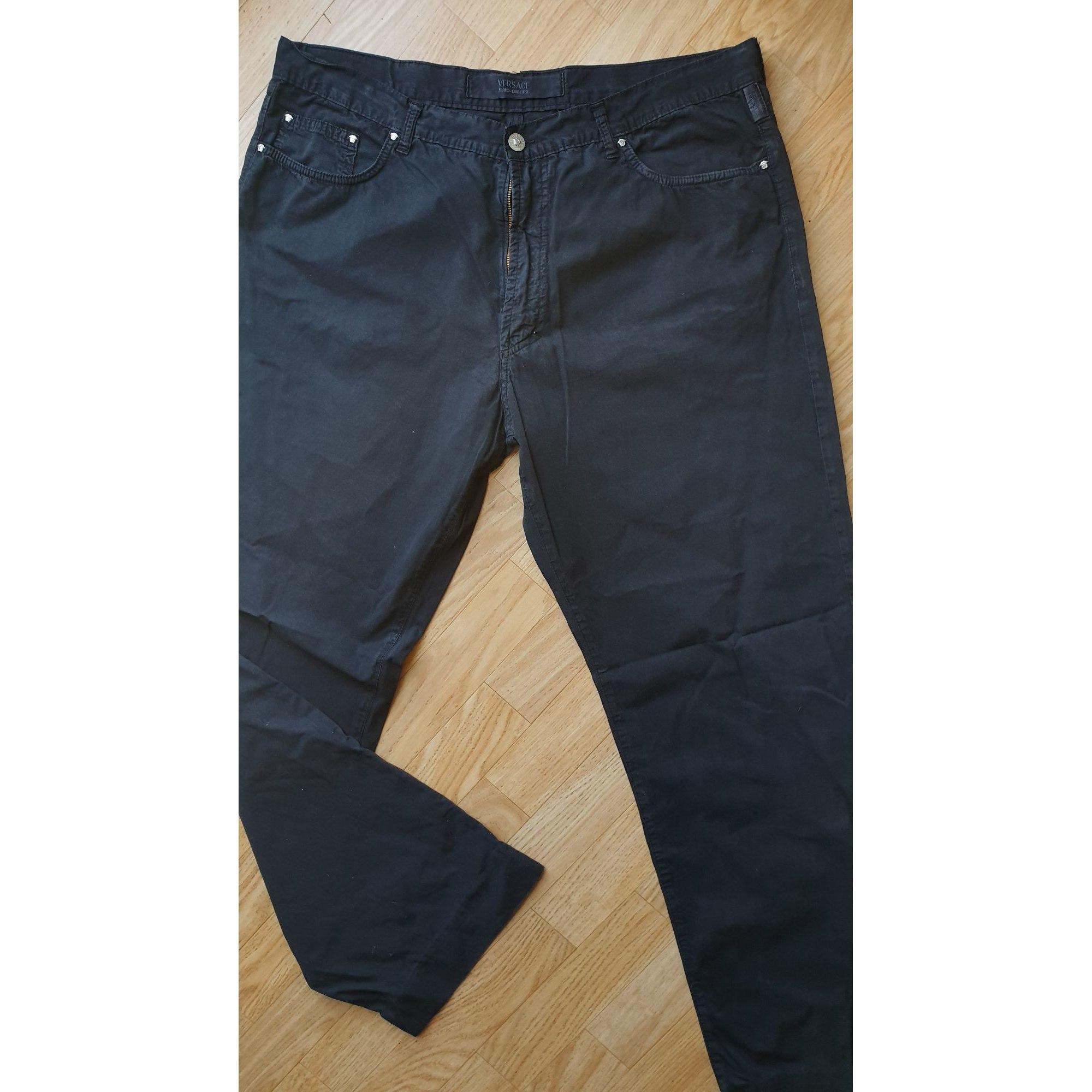 Pantalon droit VERSACE Marron
