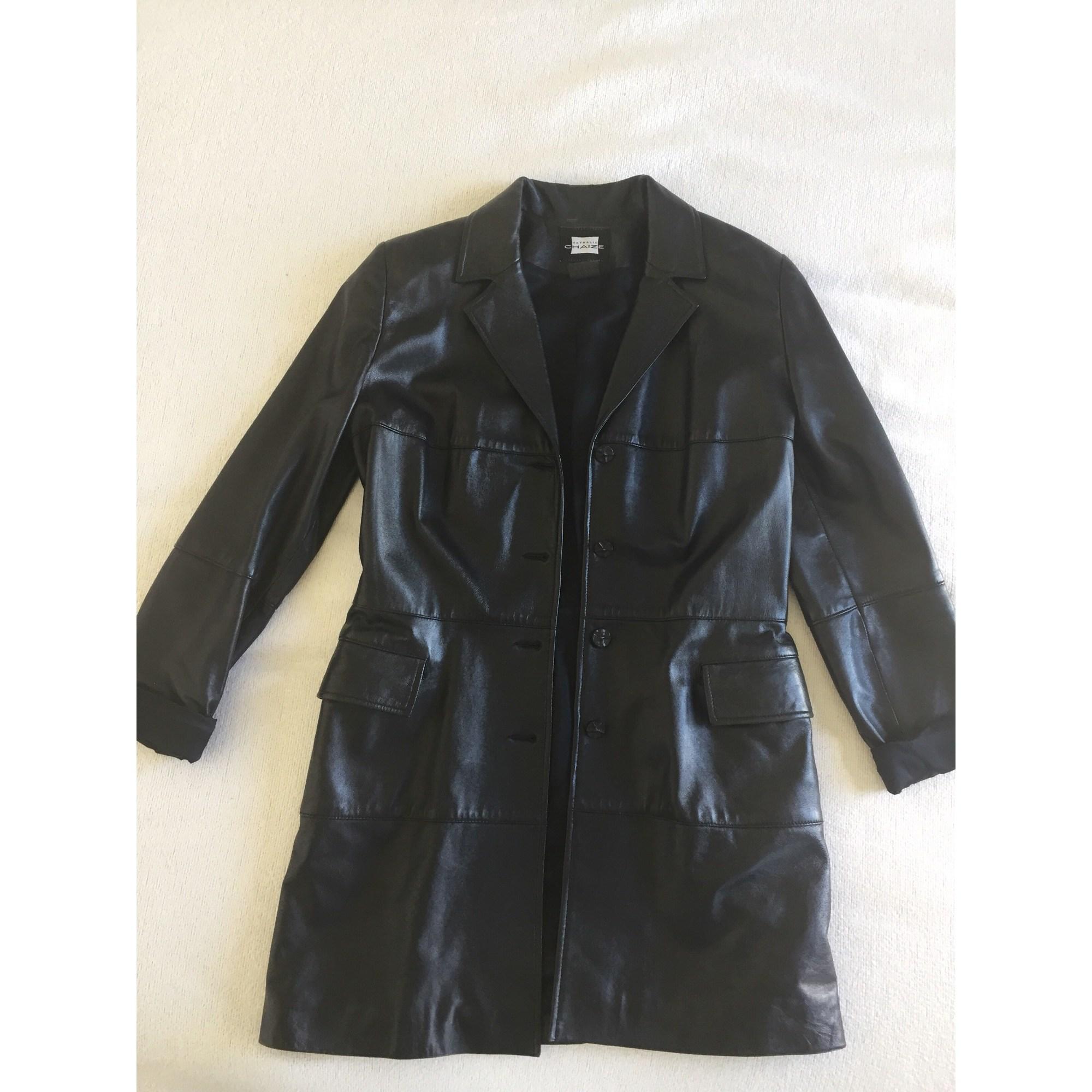 Manteau en cuir NATHALIE CHAIZE Noir