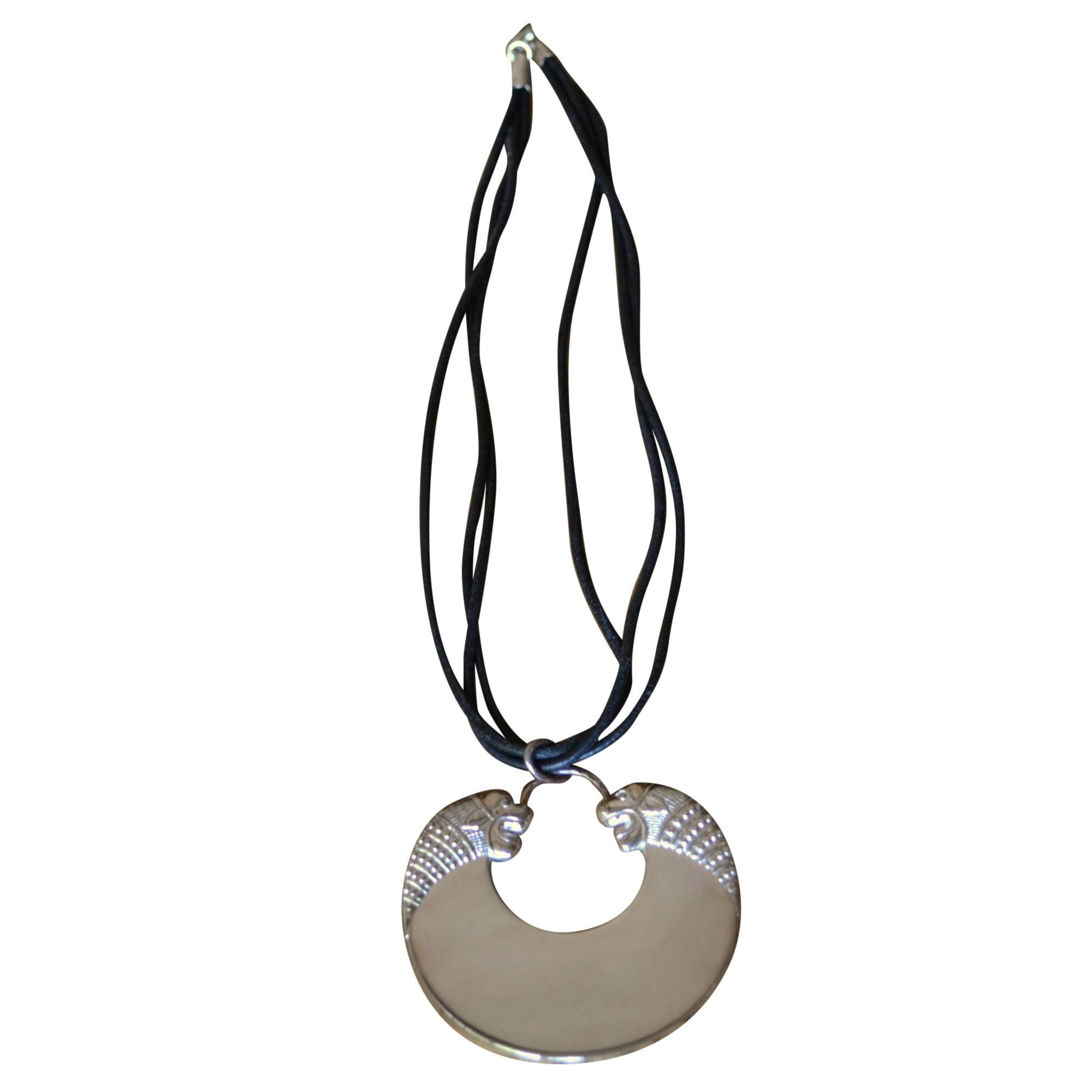 Pendentif, collier pendentif ARTHUS BERTRAND Argenté, acier