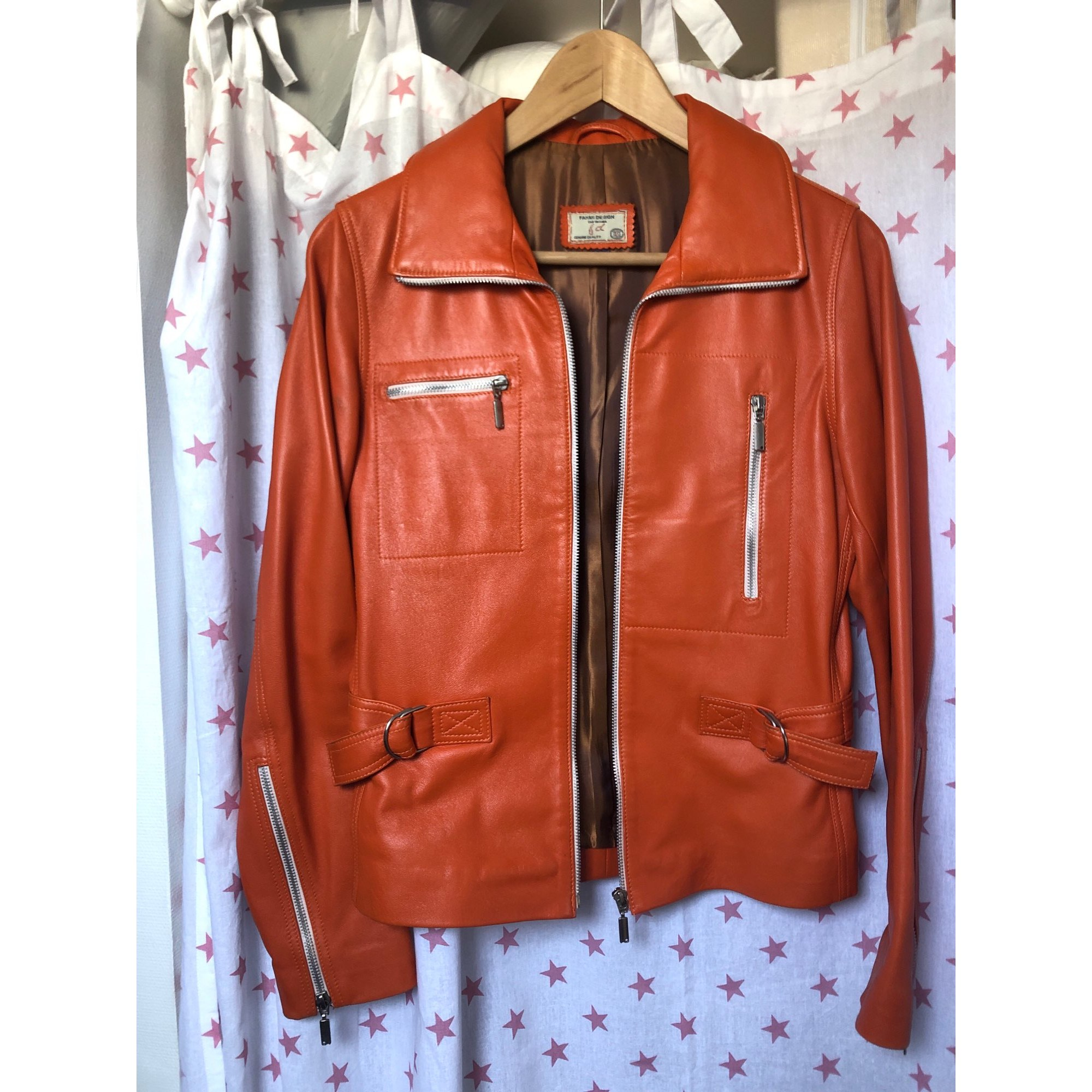 Veste en cuir FAHMI DESIGN Orange