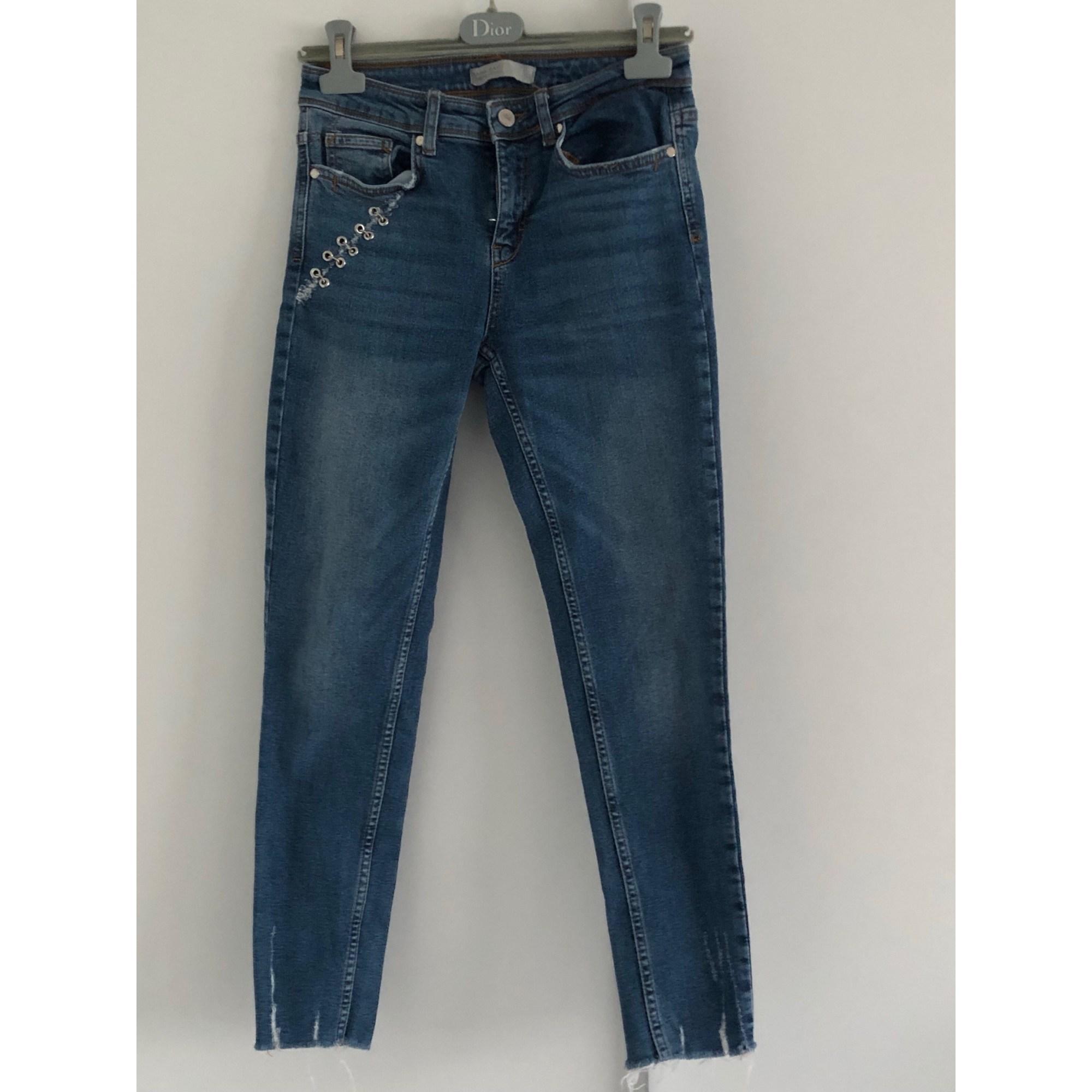 Jeans droit ZARA Bleu, bleu marine, bleu turquoise