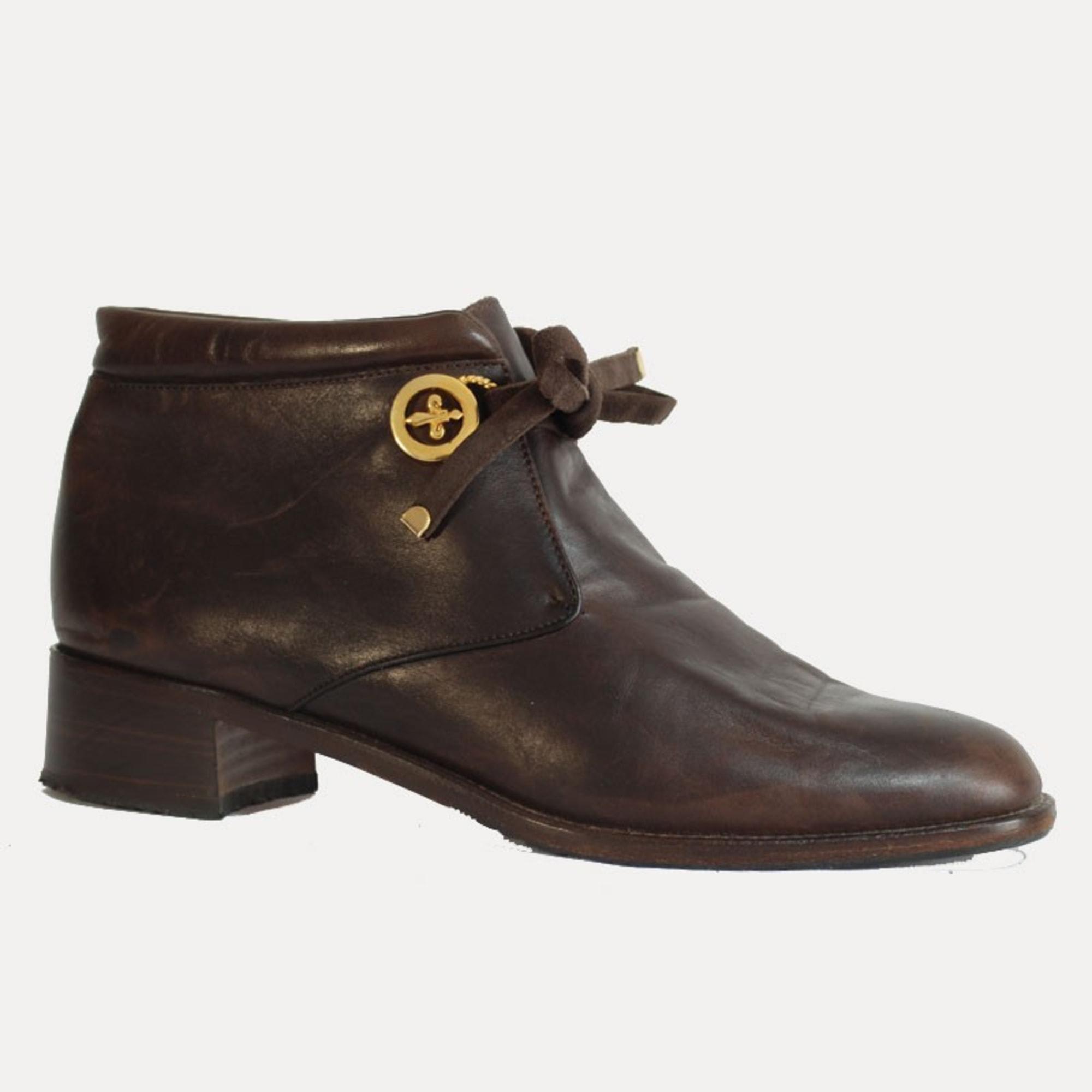 Bottines & low boots plates MARQUE INCONNUE Marron