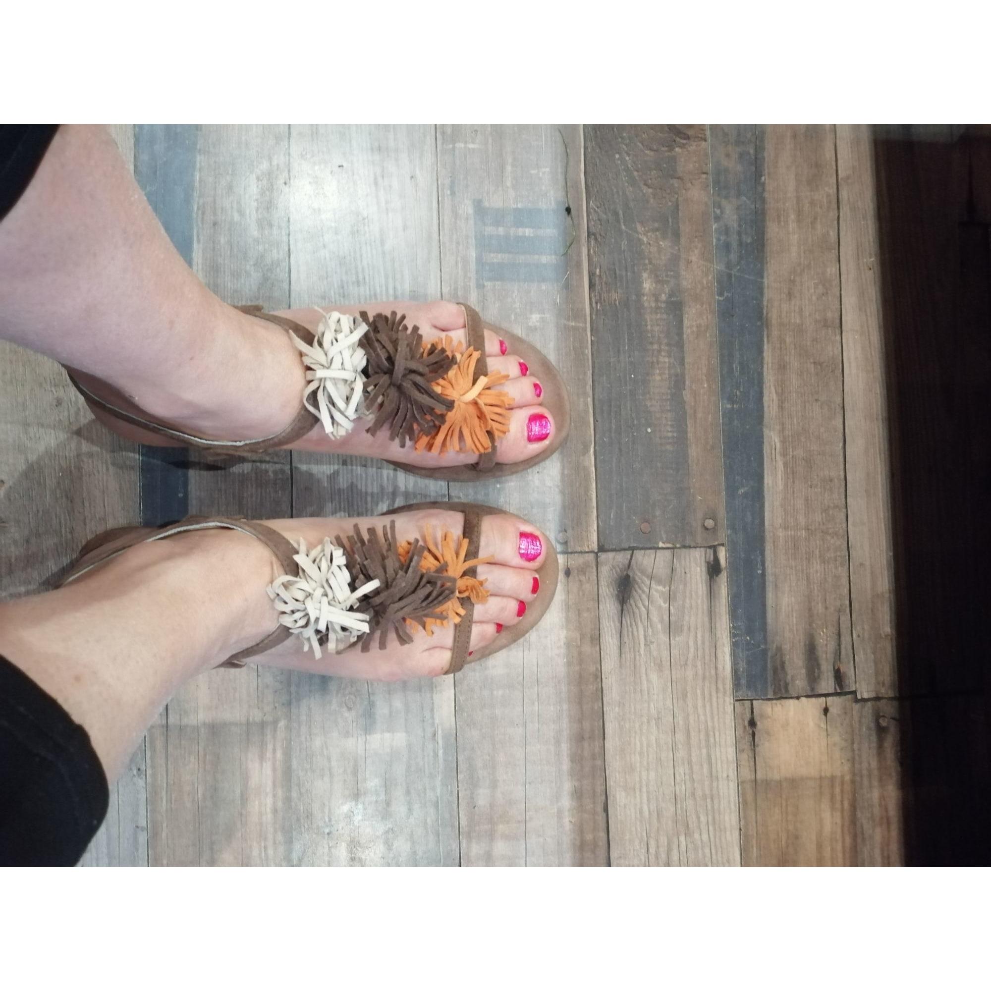 Sandales plates  ELIZABETH STUART Marron