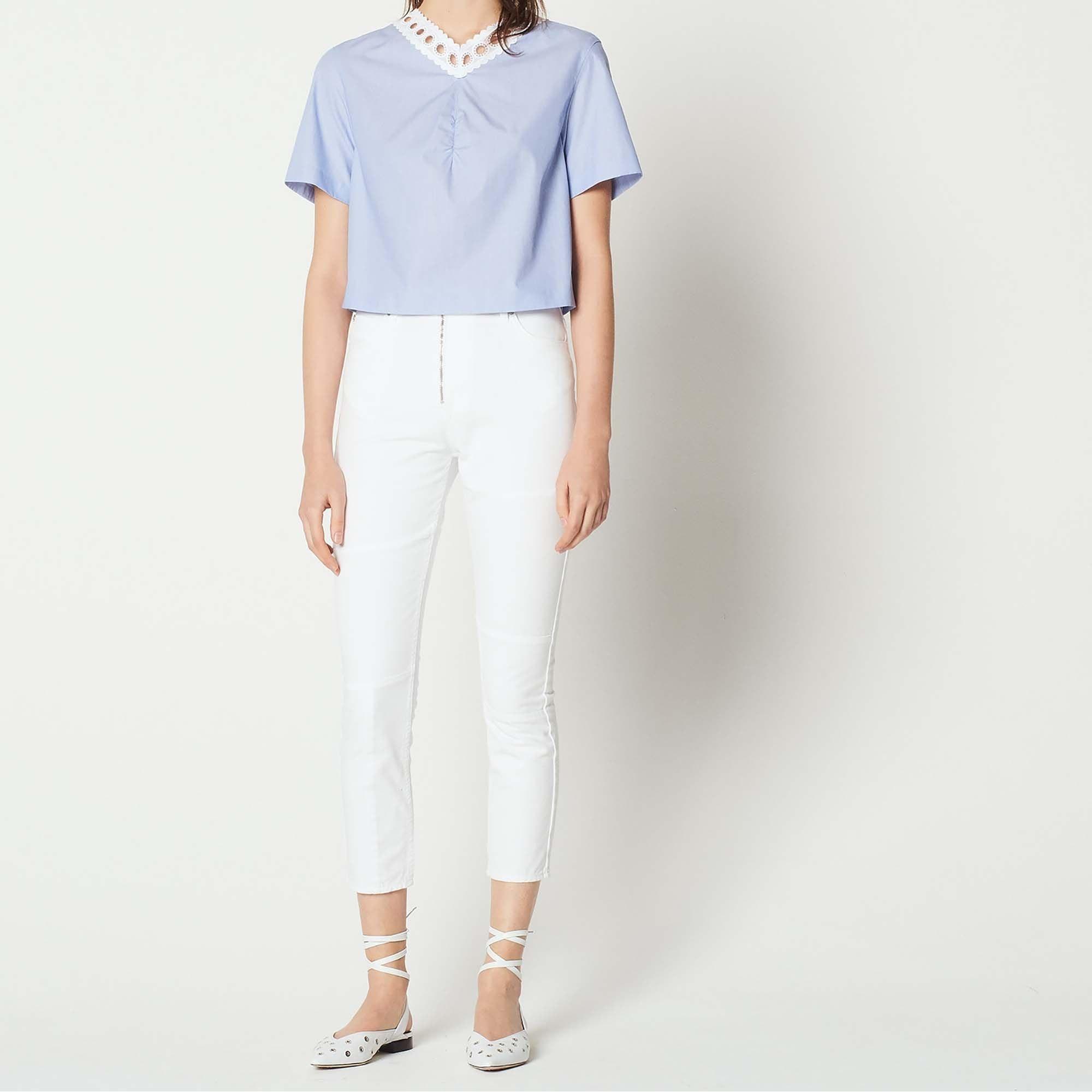 Jeans slim SANDRO Blanc, blanc cassé, écru