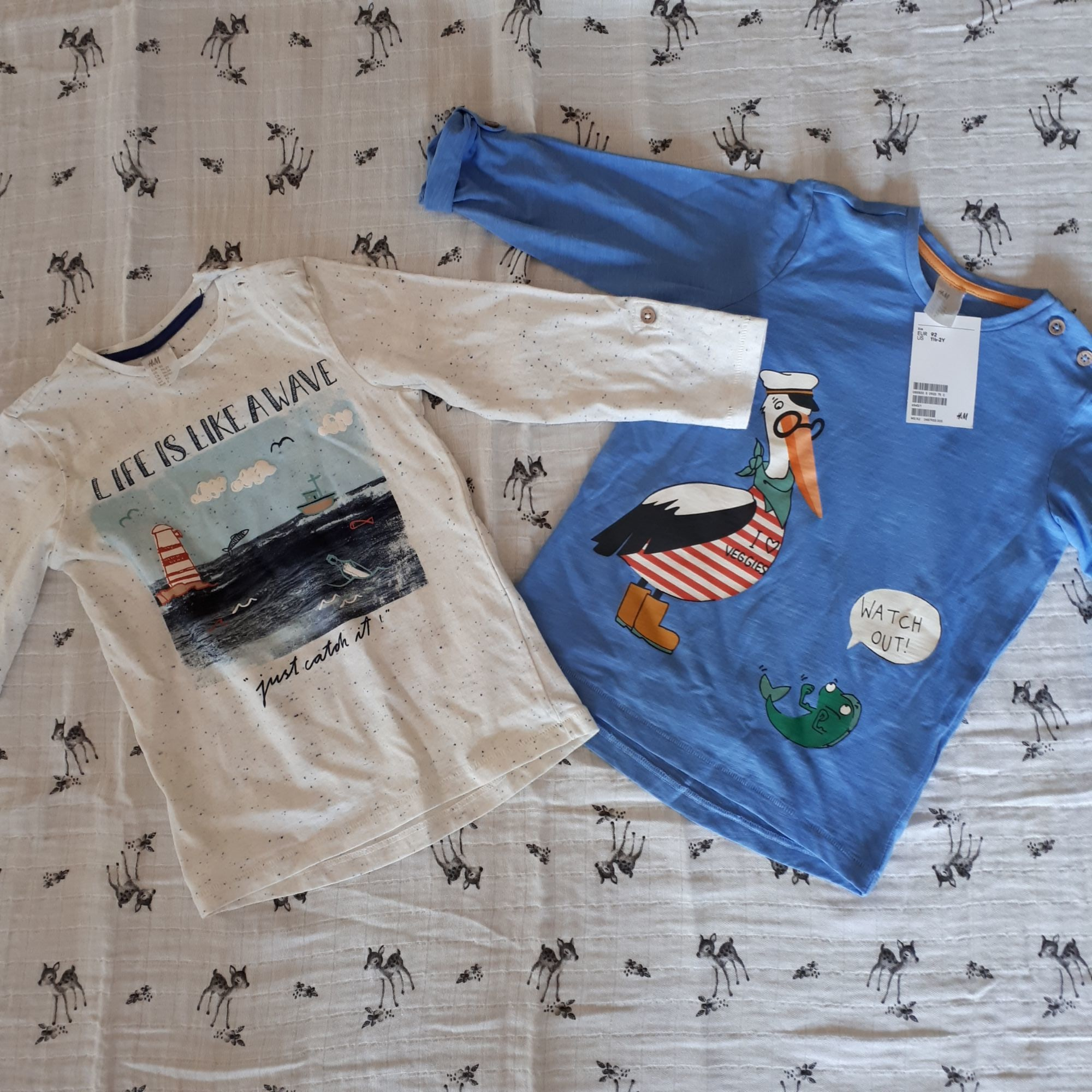 Tee-shirt H&M Bleu, bleu marine, bleu turquoise