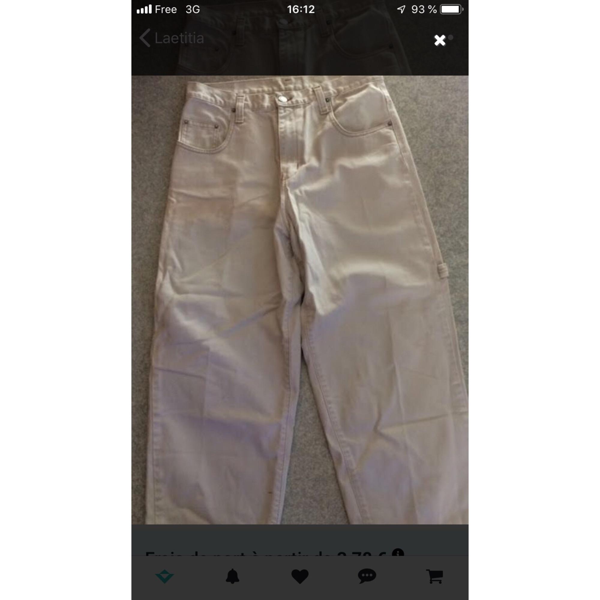 Jeans droit OBER Blanc, blanc cassé, écru