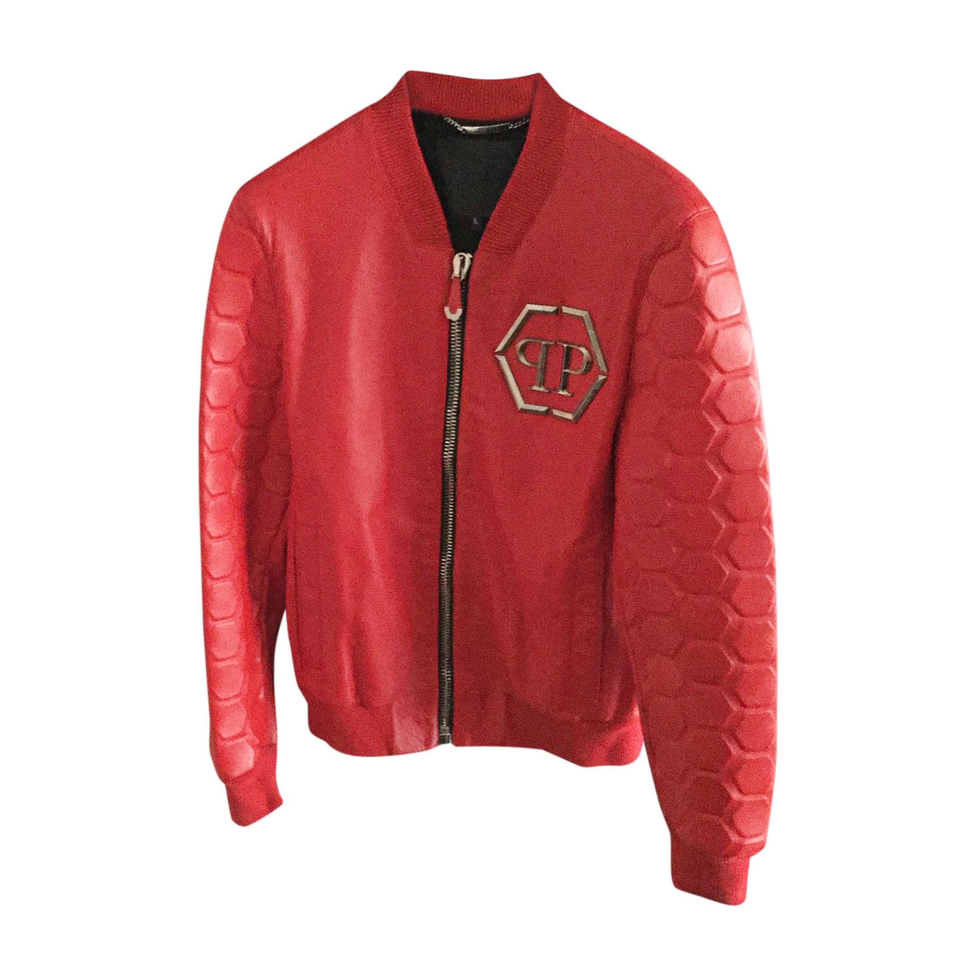 Veste en cuir PHILIPP PLEIN 52 (L) rouge