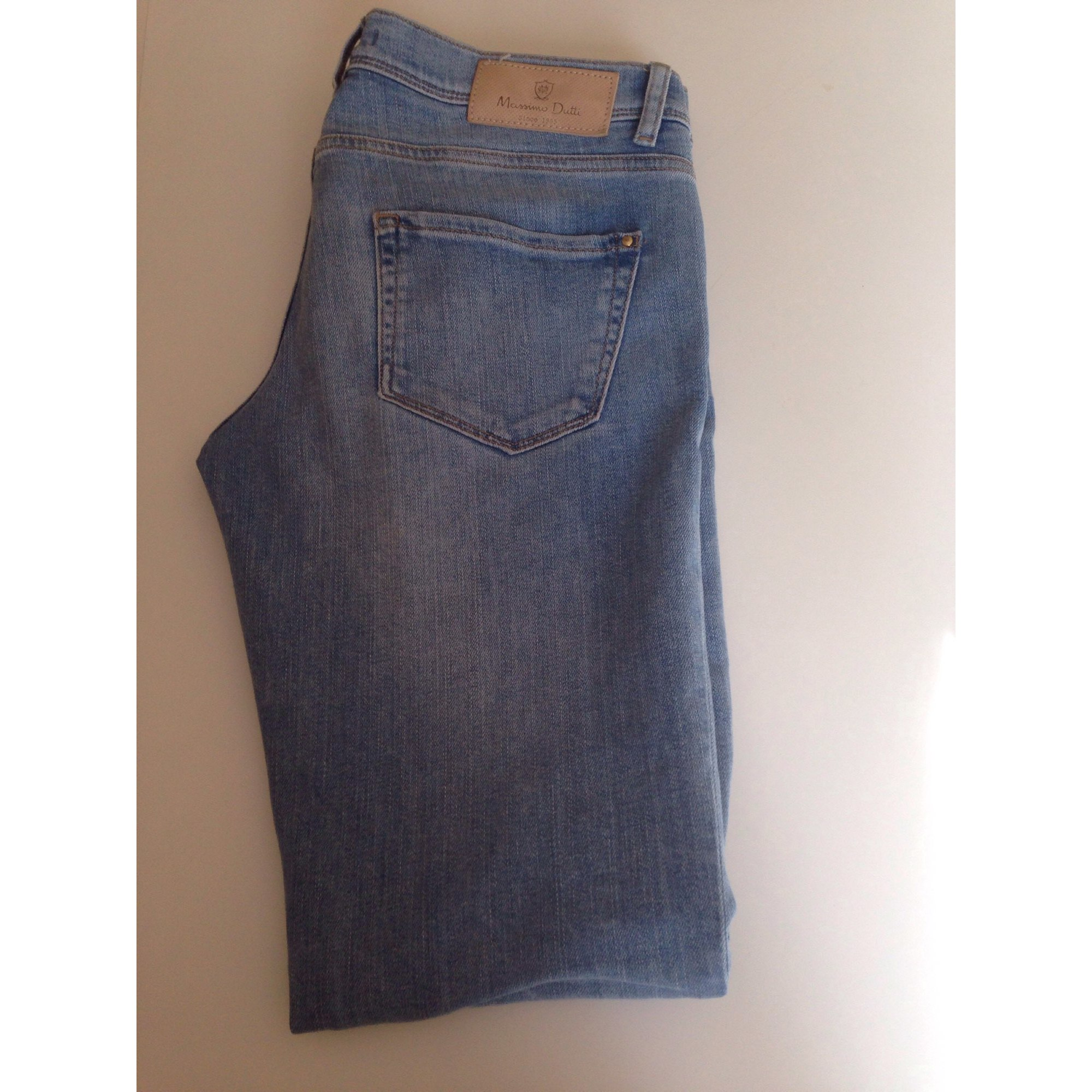 Jeans slim MASSIMO DUTTI Bleu, bleu marine, bleu turquoise