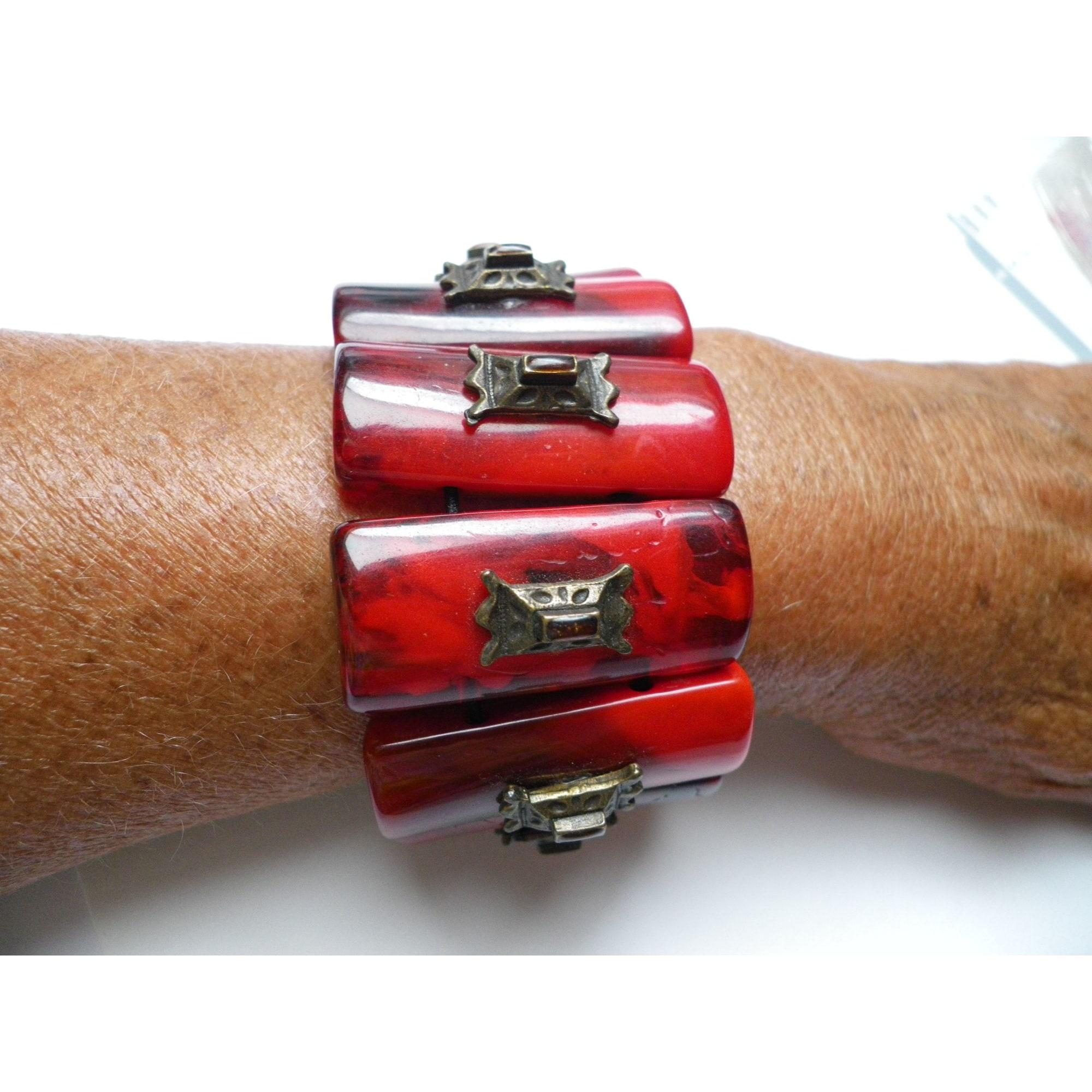 Bracelet DOMINIQUE DENAIVE Rouge, bordeaux