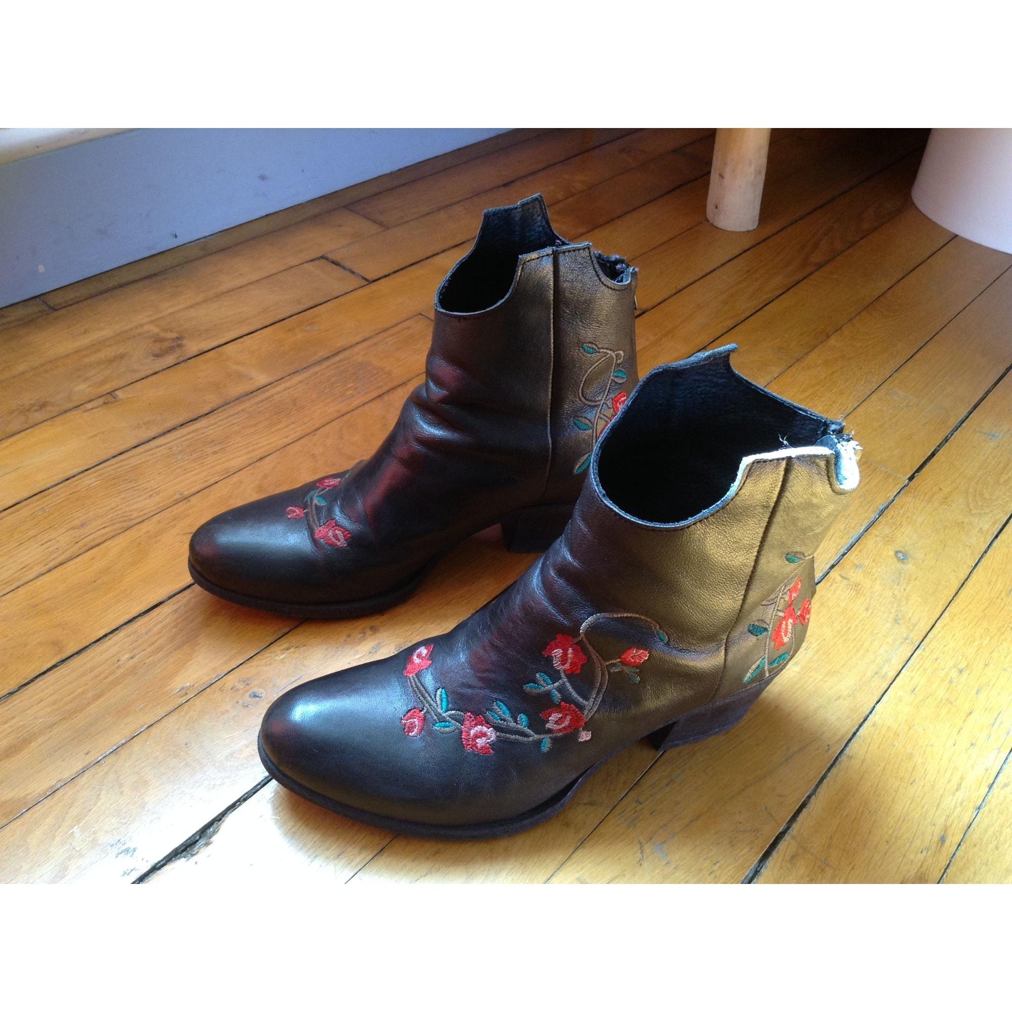 Santiags, bottines, low boots cowboy CAT Noir