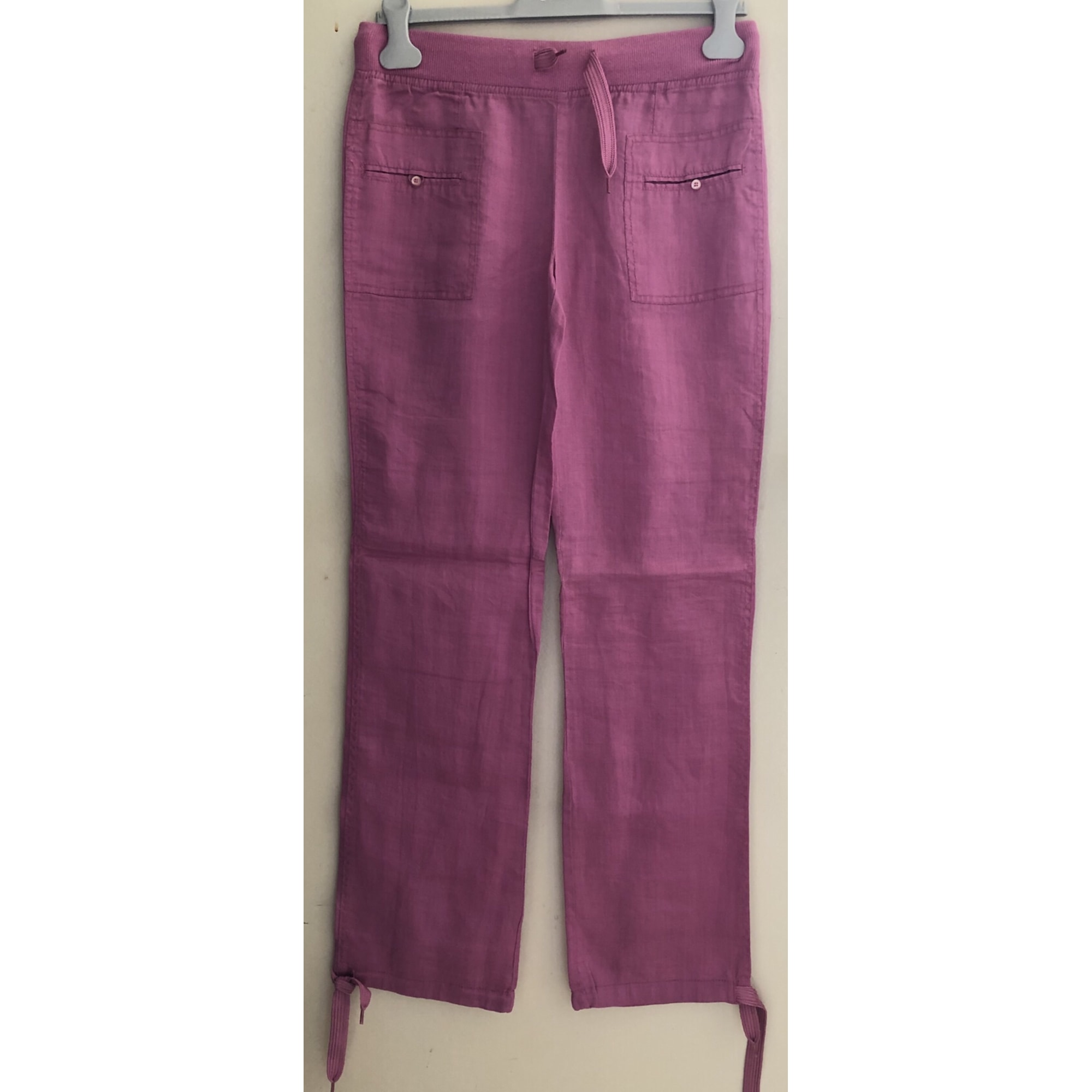 Pantalon droit ETAM Rose, fuschia, vieux rose