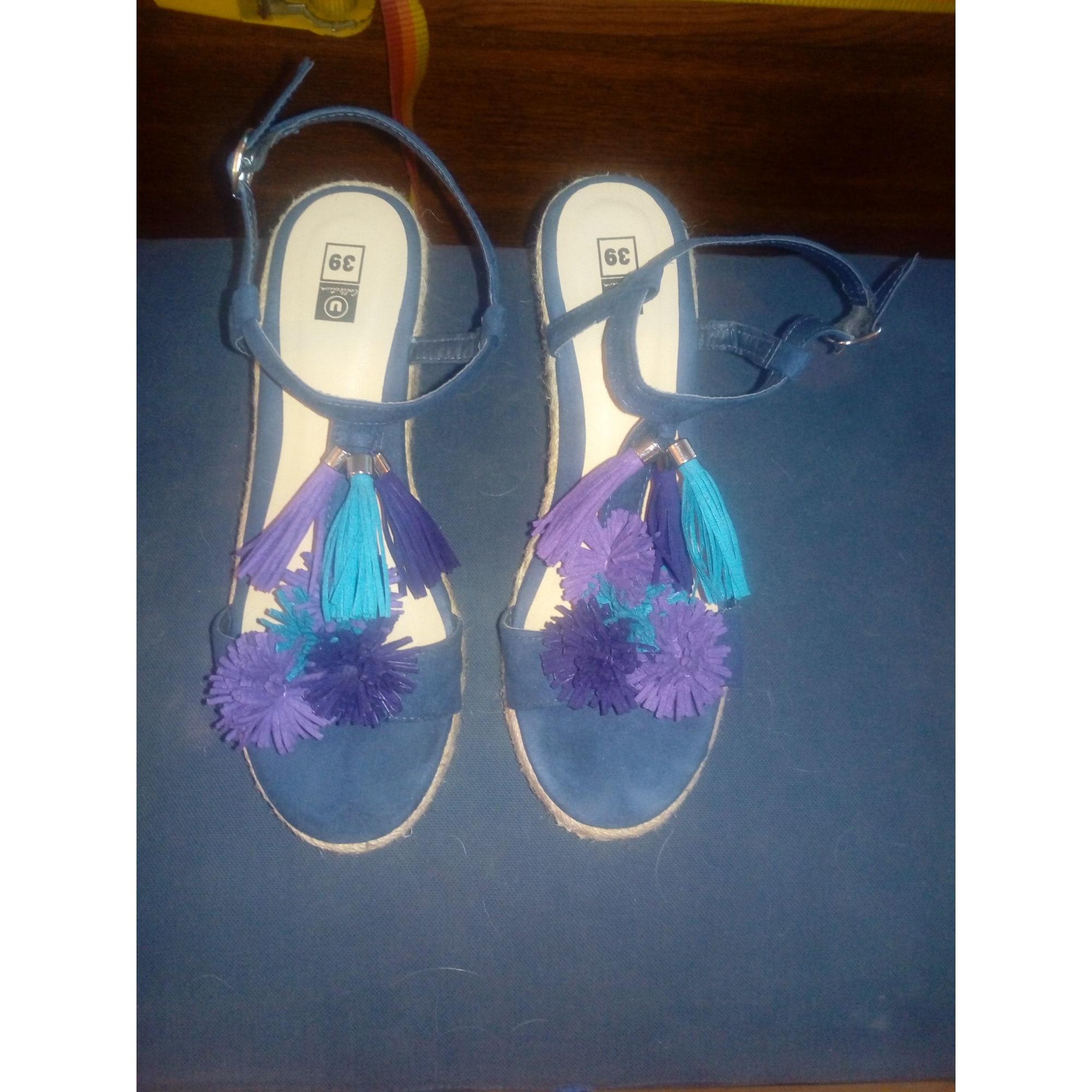 Sandales compensées U COLLECTION Bleu, bleu marine, bleu turquoise