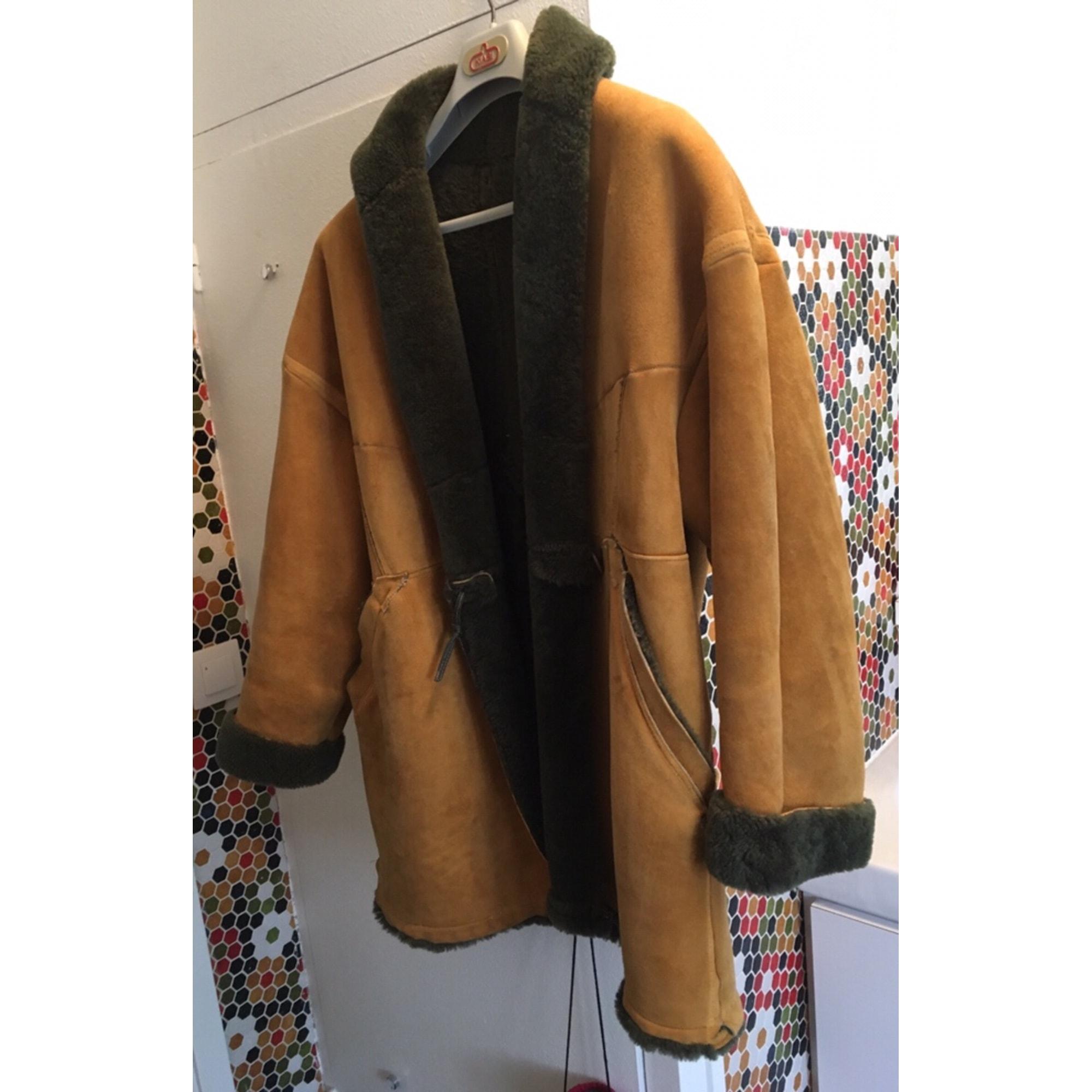 Manteau en cuir MARQUE INCONNUE Jaune