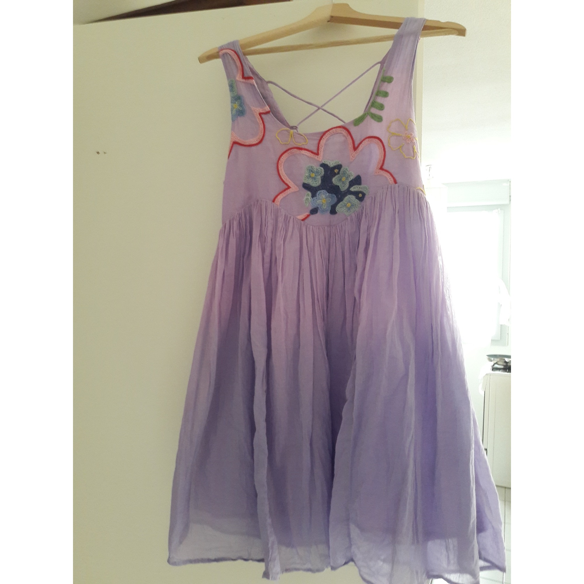 Robe courte PEACE AND LOVE BY CALAO Violet, mauve, lavande
